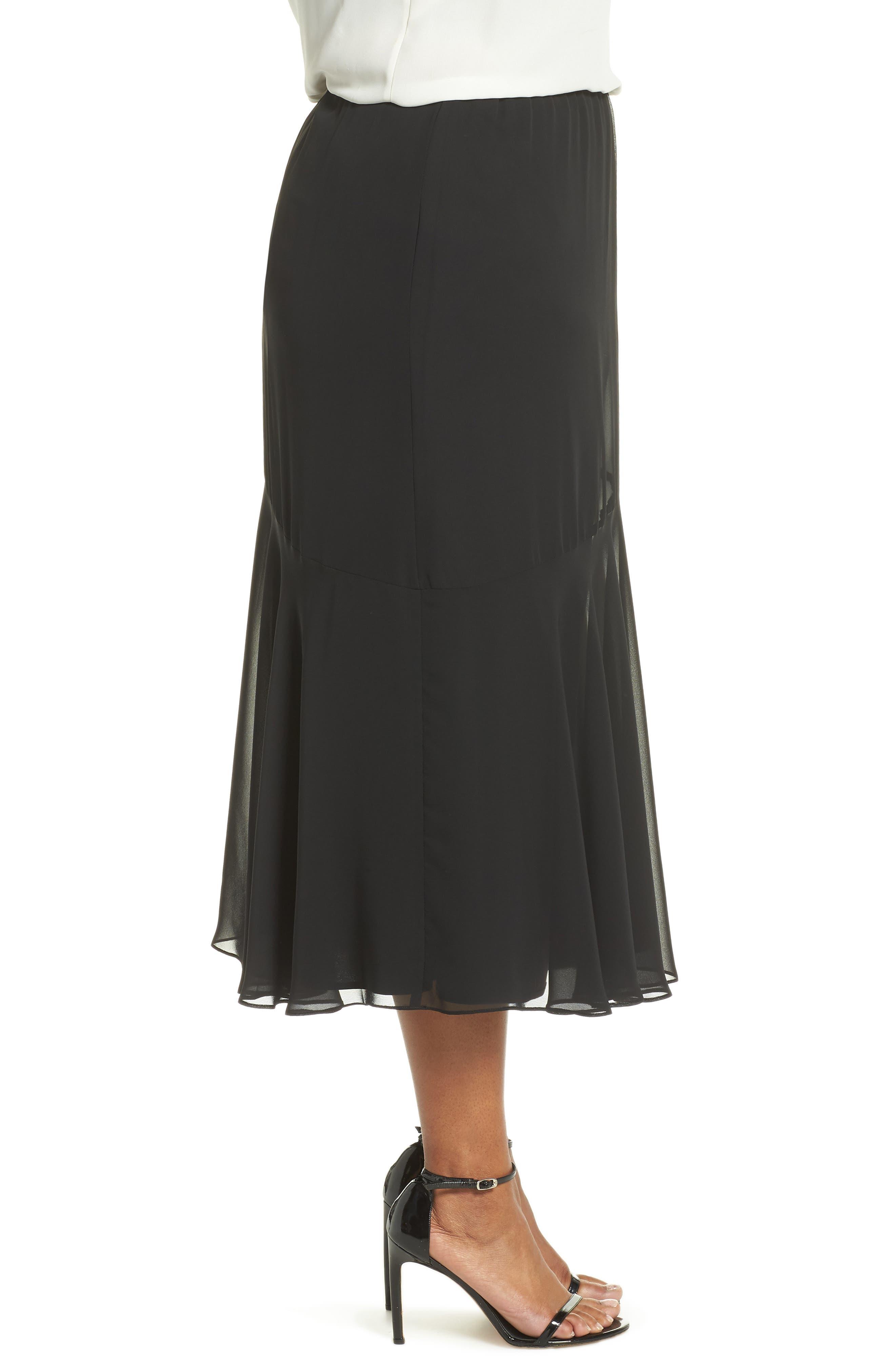 Pleated Chiffon Midi Skirt,                             Alternate thumbnail 3, color,                             BLACK