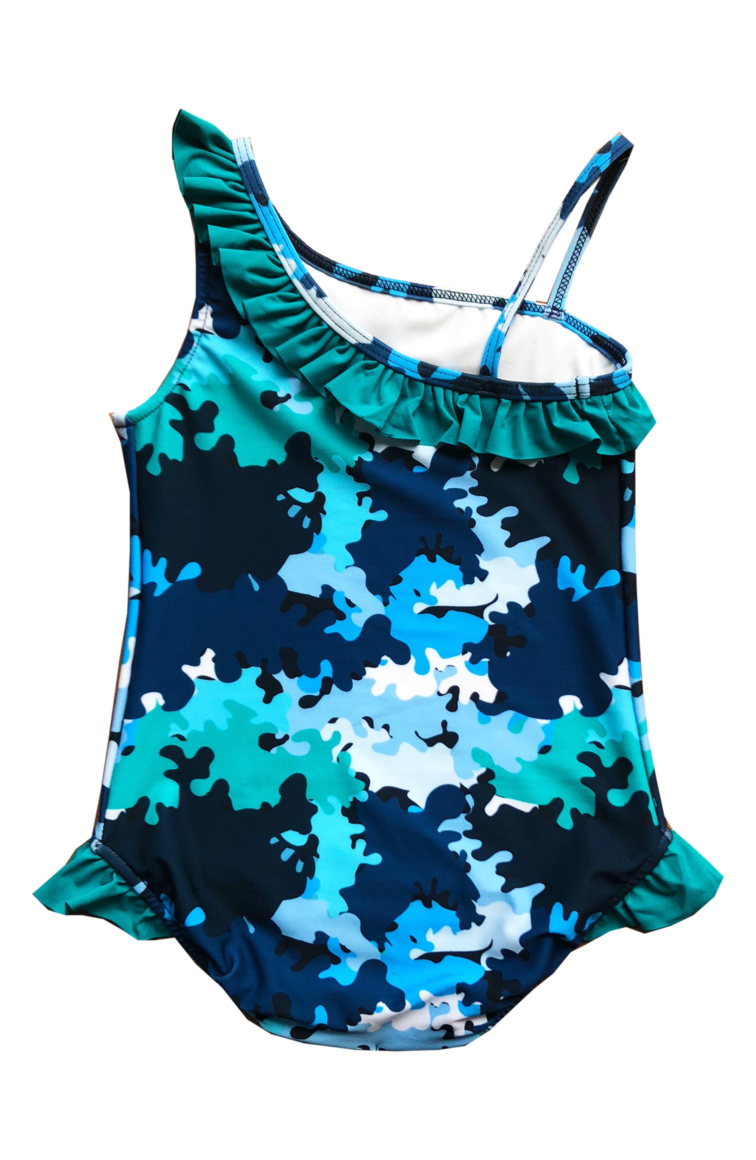 Asymmetrical Ruffle One-Piece Swimsuit,                             Alternate thumbnail 2, color,                             VALOUR