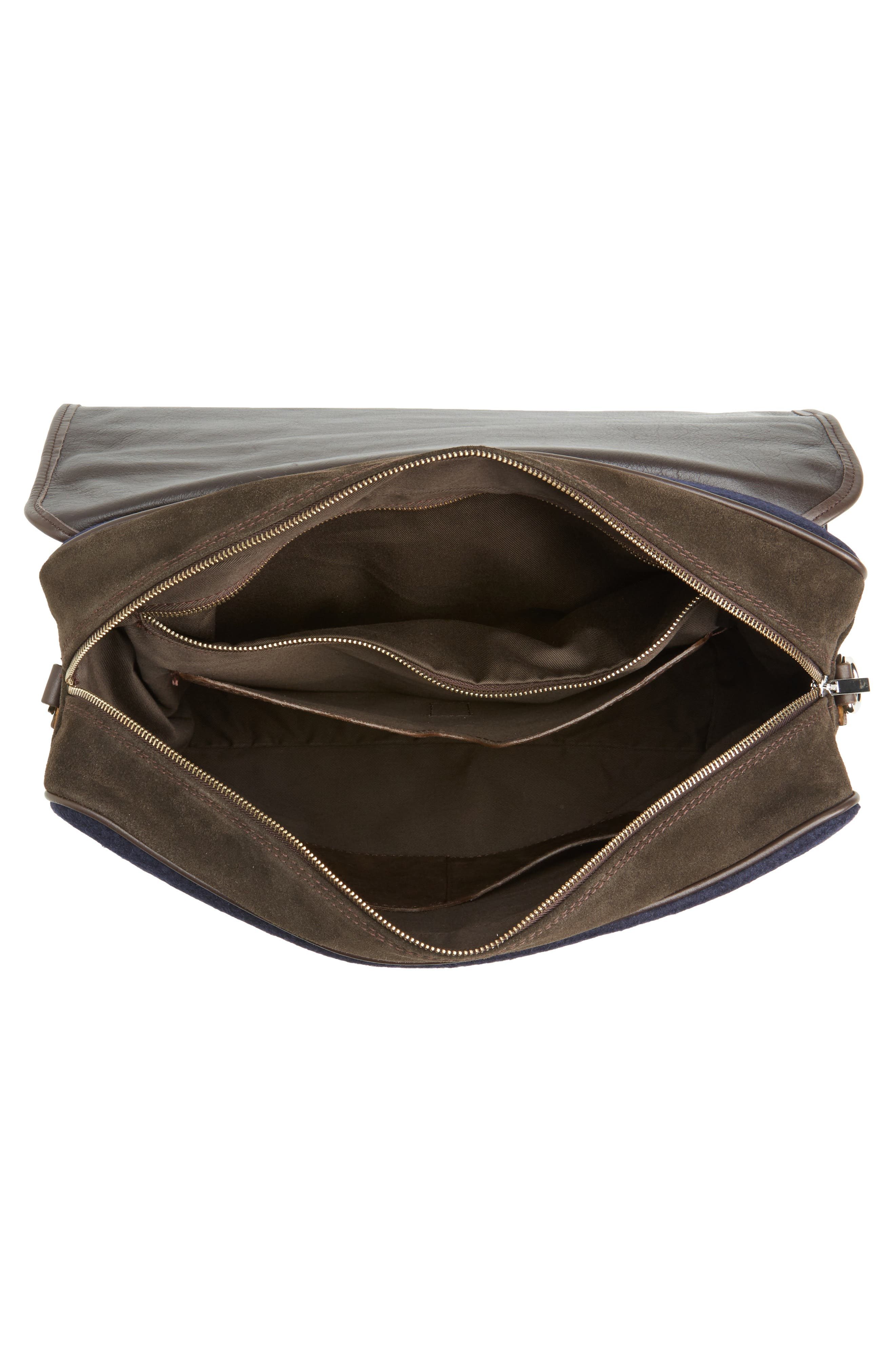Leather & Wool Convertible Briefcase,                             Alternate thumbnail 4, color,                             205