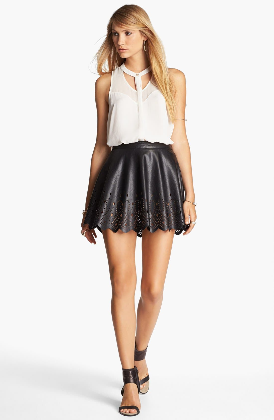ASTR THE LABEL,                             ASTR Cutout Faux Leather Skirt,                             Main thumbnail 1, color,                             001