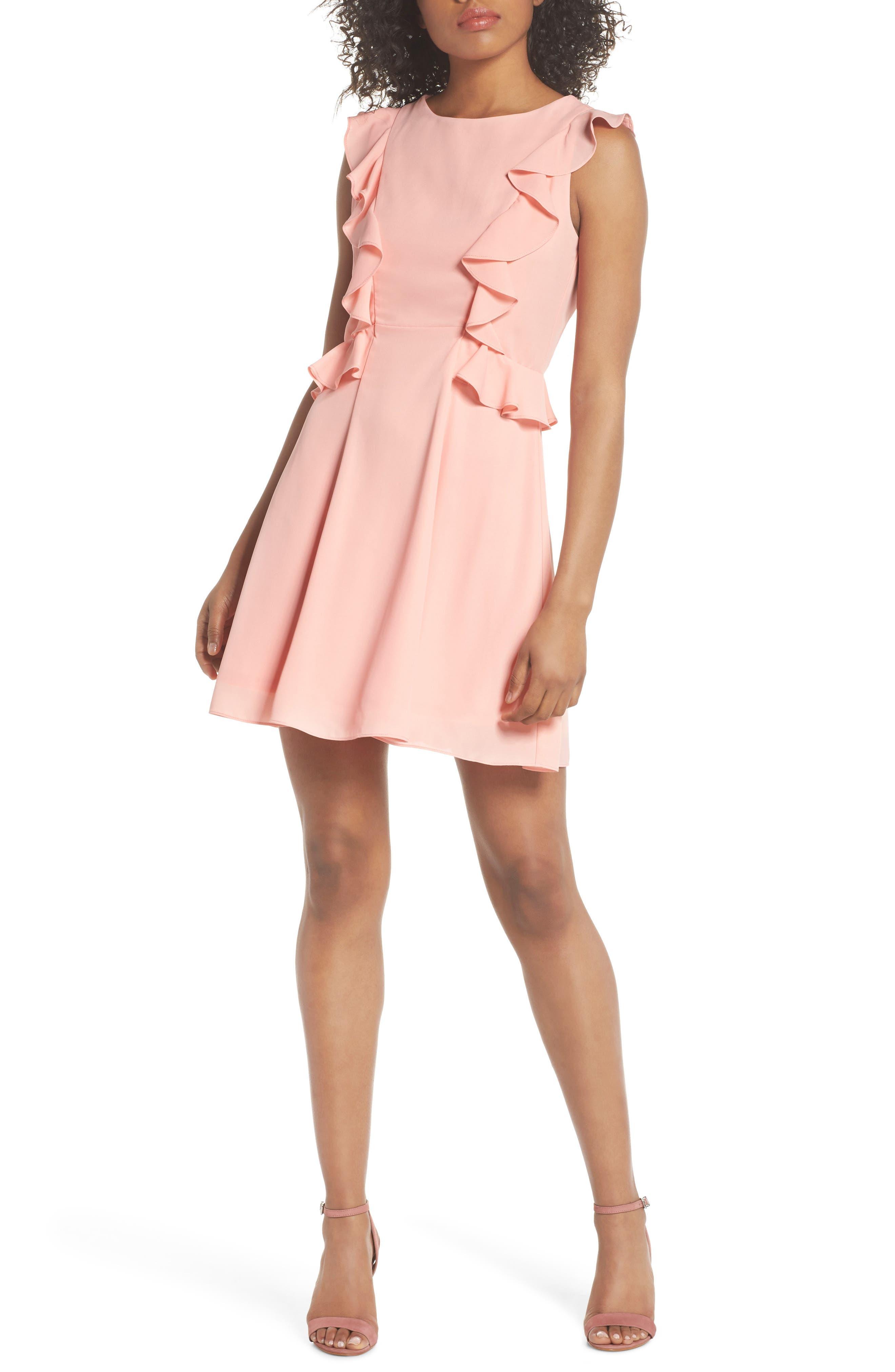 Lila Ruffle Trim Crepe Dress,                             Main thumbnail 1, color,                             650