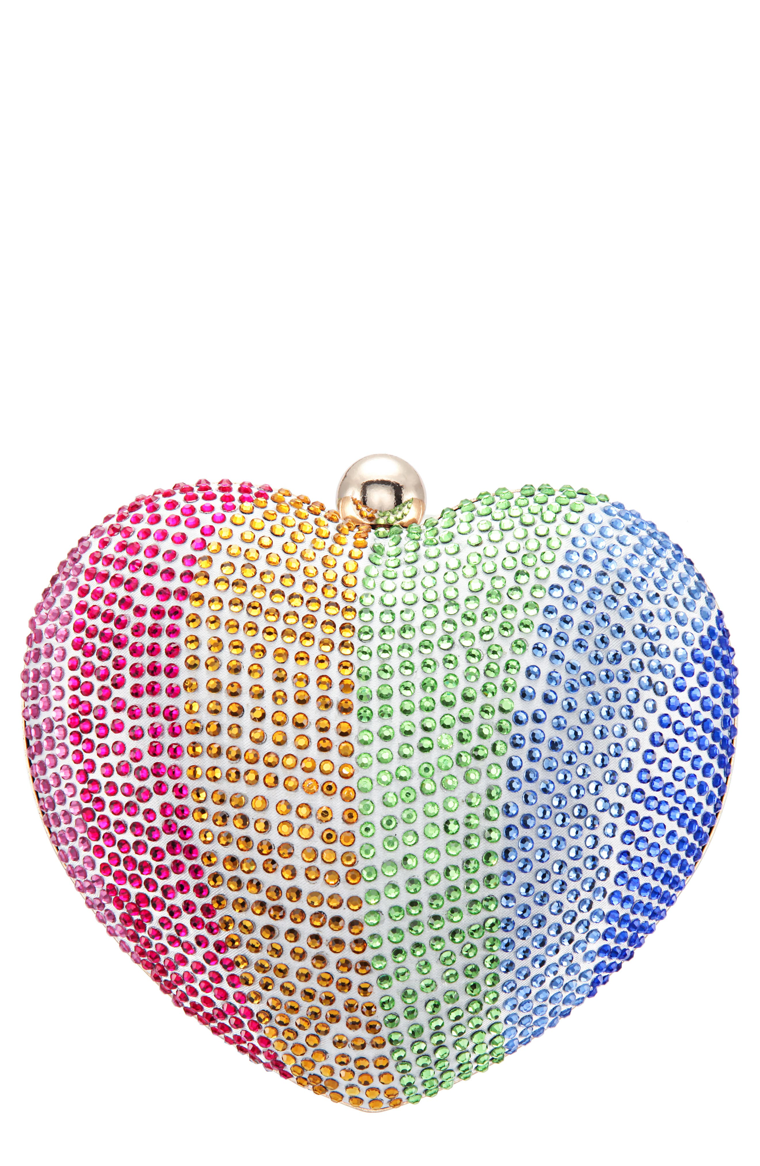 Crystal Embellished Minaudiere - Pink in Rainbow