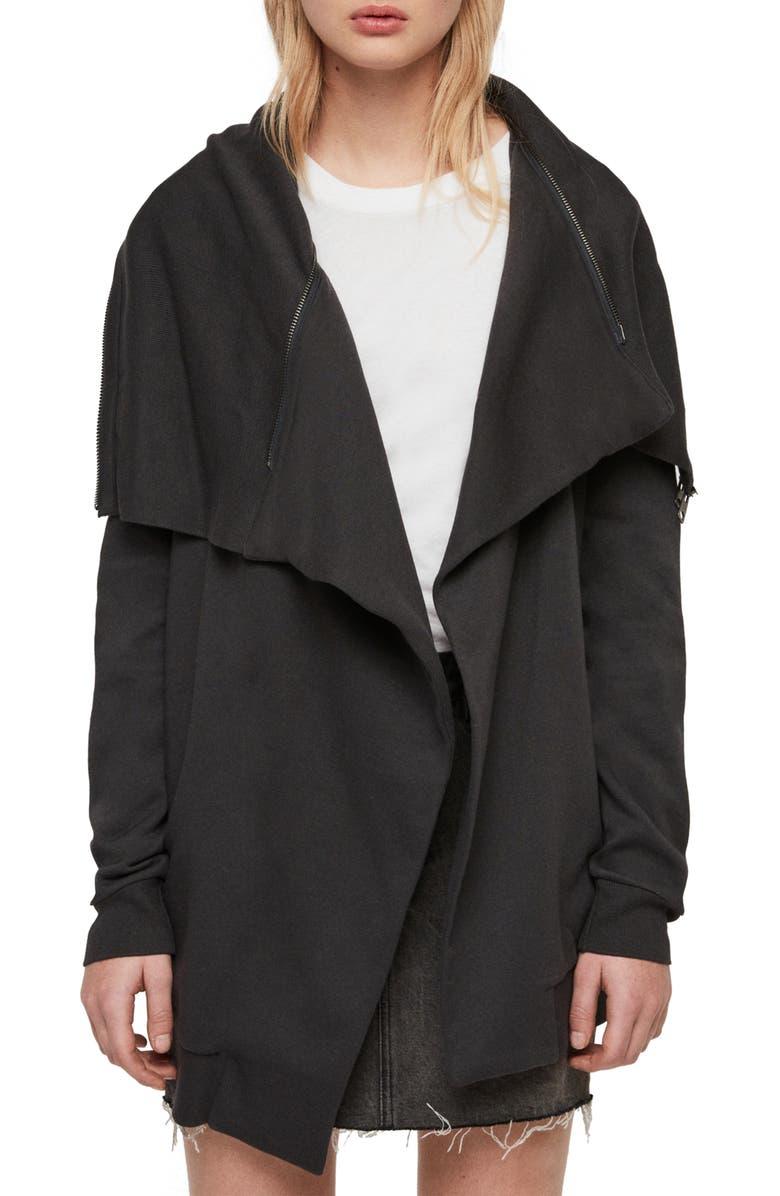 Allsaints Jackets Dahlia Waterfall Collar Cotton Blend Jacket