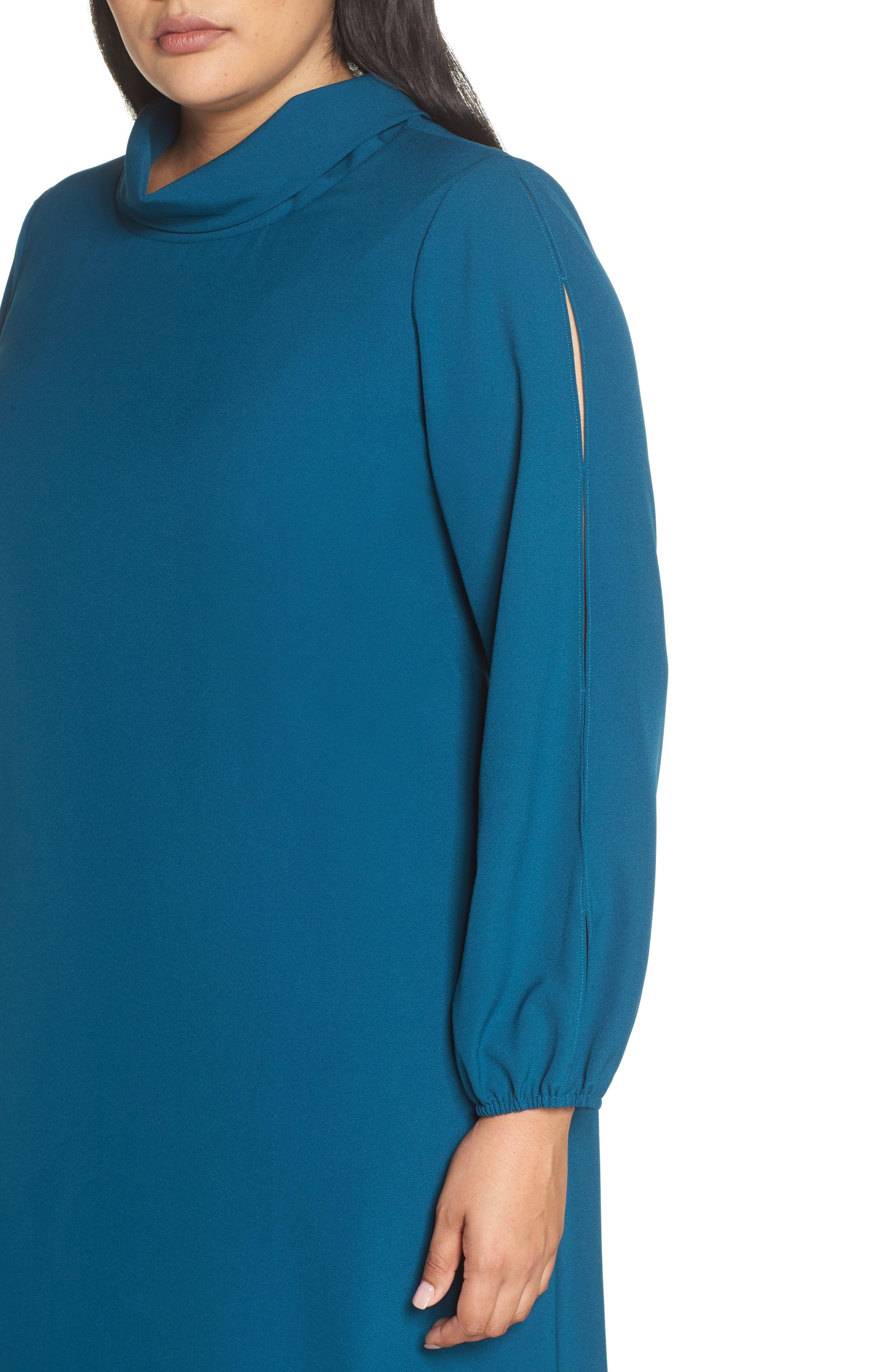 Long Split Sleeve Crepe Sheath Dress,                             Alternate thumbnail 4, color,                             OCEAN TEAL