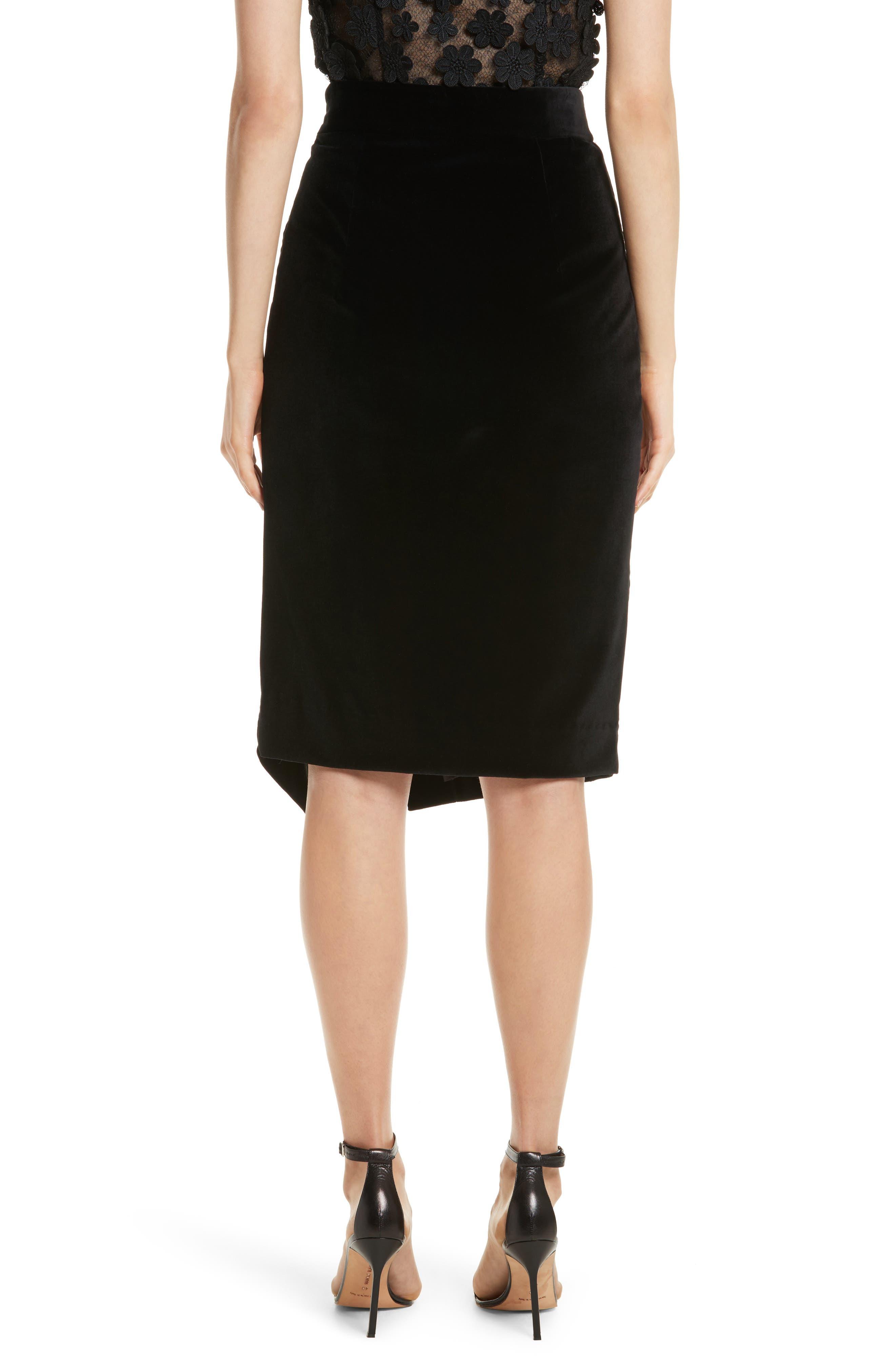 Robin Velveteen Faux Wrap Skirt,                             Alternate thumbnail 2, color,                             001