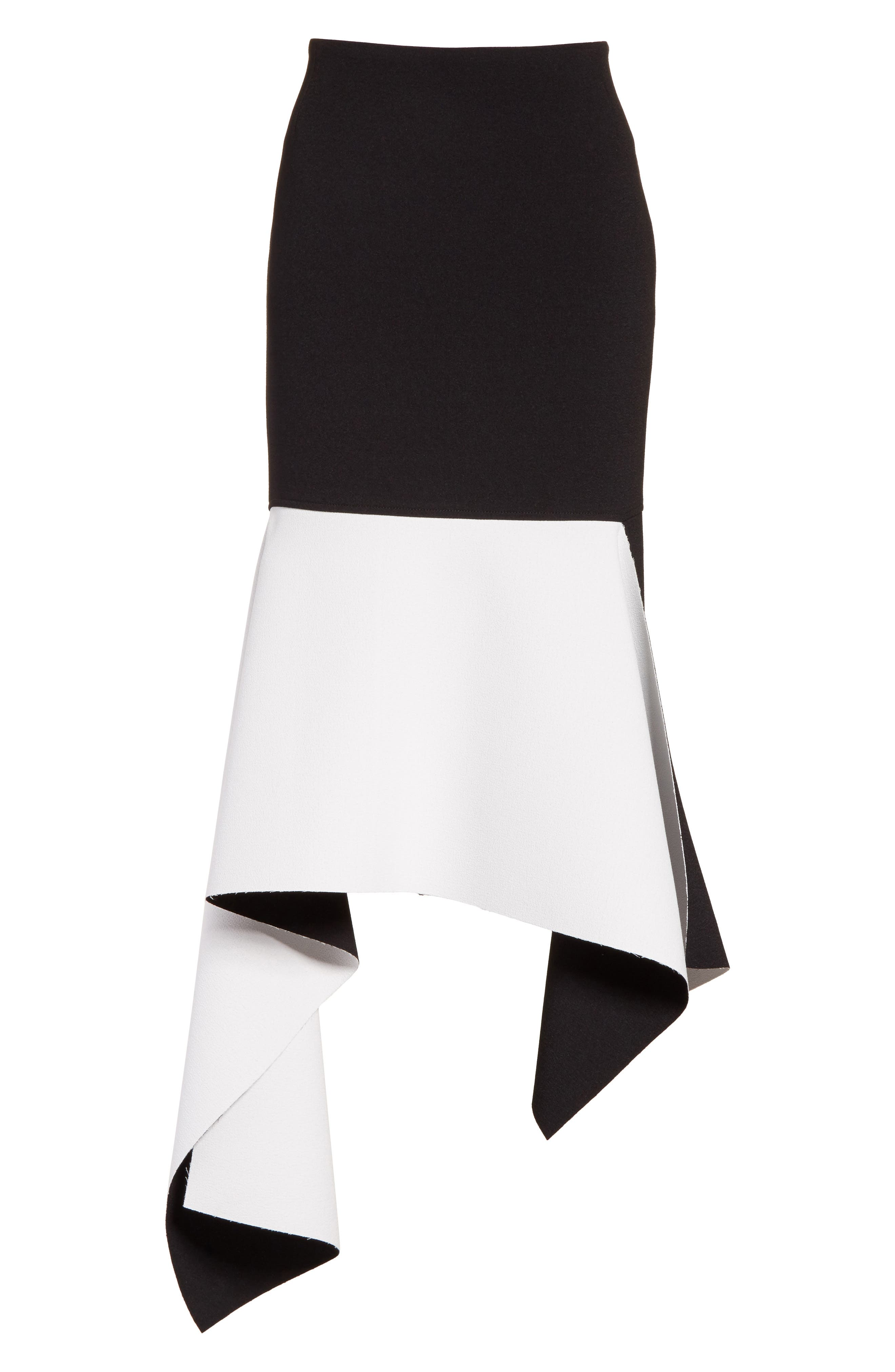 Marques'Almeida Asymmetrical Bicolor Crepe Skirt,                             Alternate thumbnail 6, color,                             003