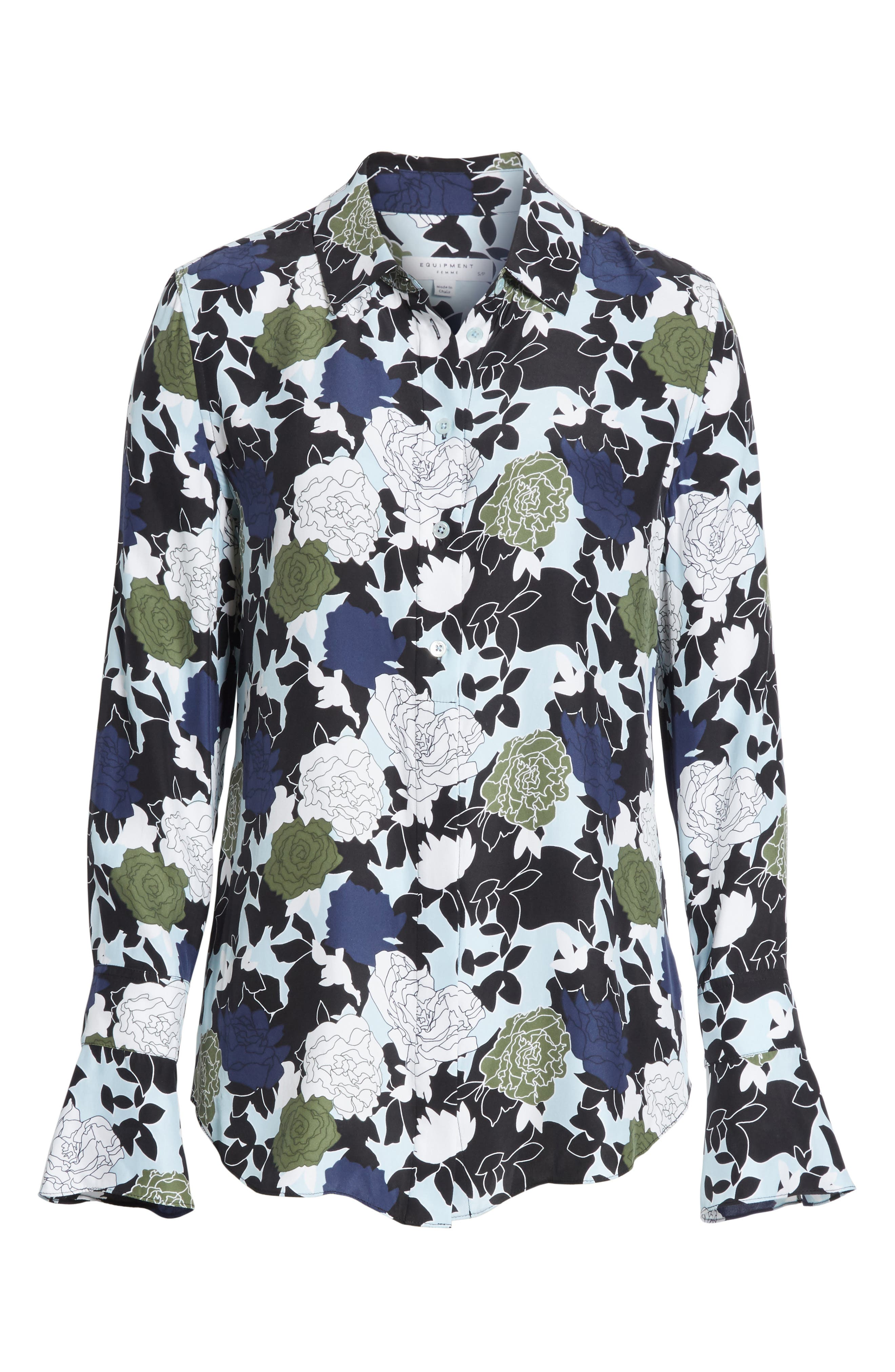 Daphne Floral Silk Shirt,                             Alternate thumbnail 6, color,                             COOL BREEZE MULTI