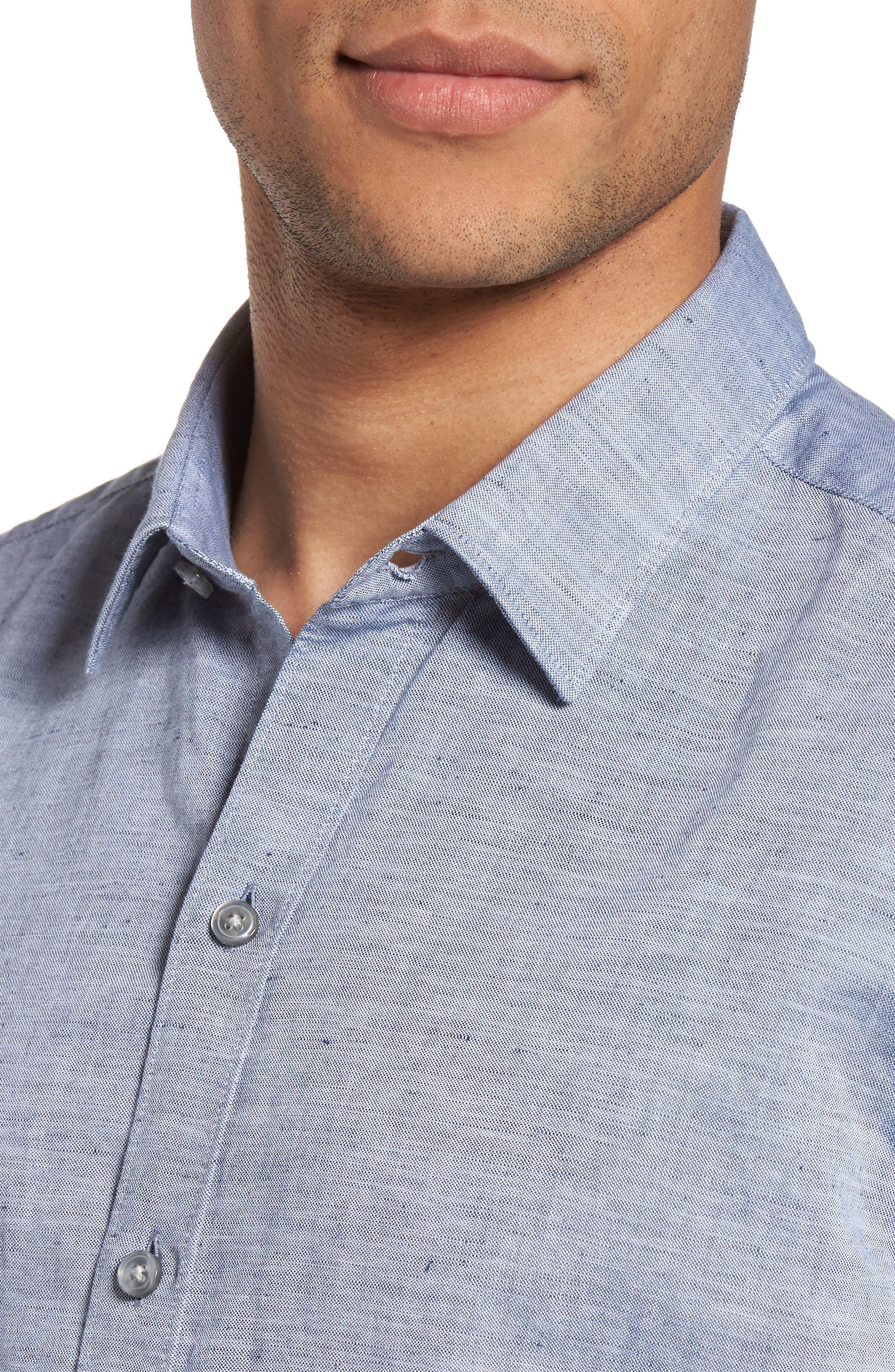 Robbie Slim Fit Linen & Cotton Shirt,                             Alternate thumbnail 4, color,                             402