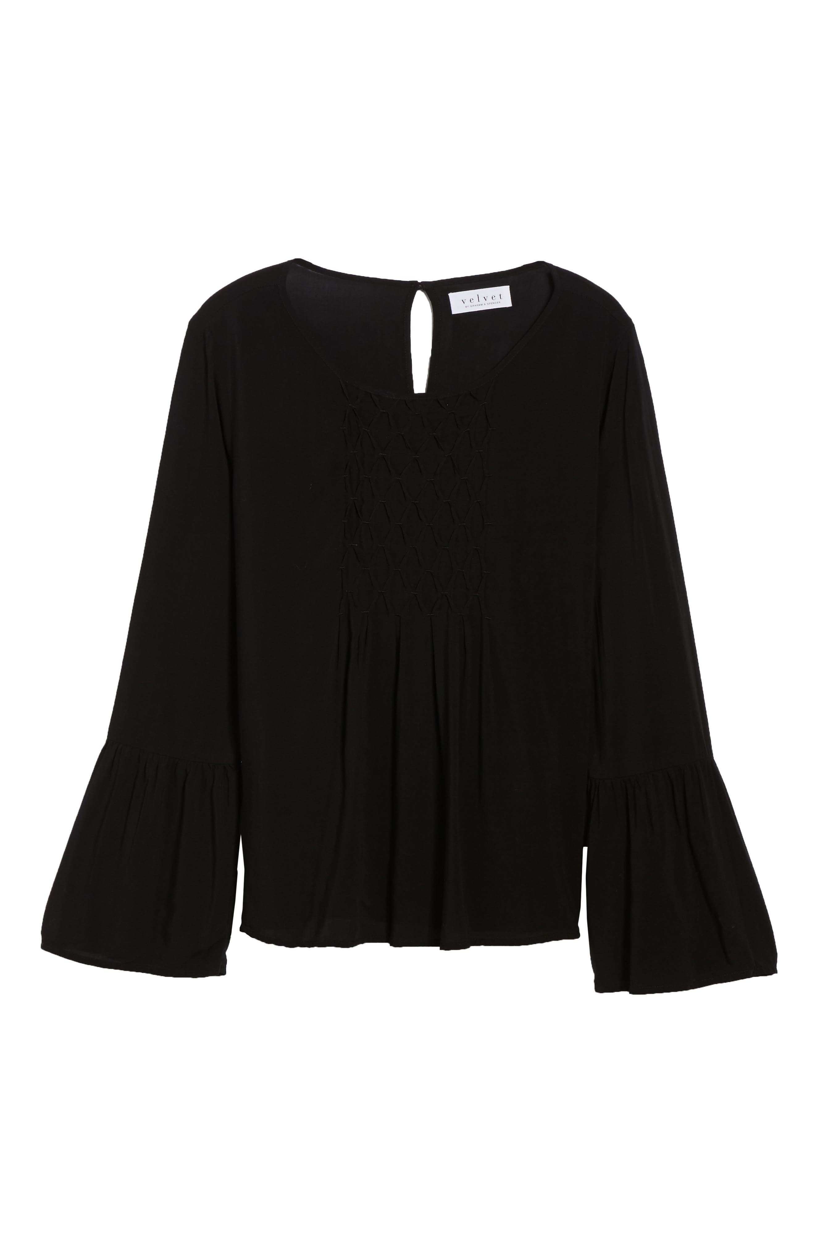 Bell Cuff Blouse,                             Alternate thumbnail 6, color,                             BLACK