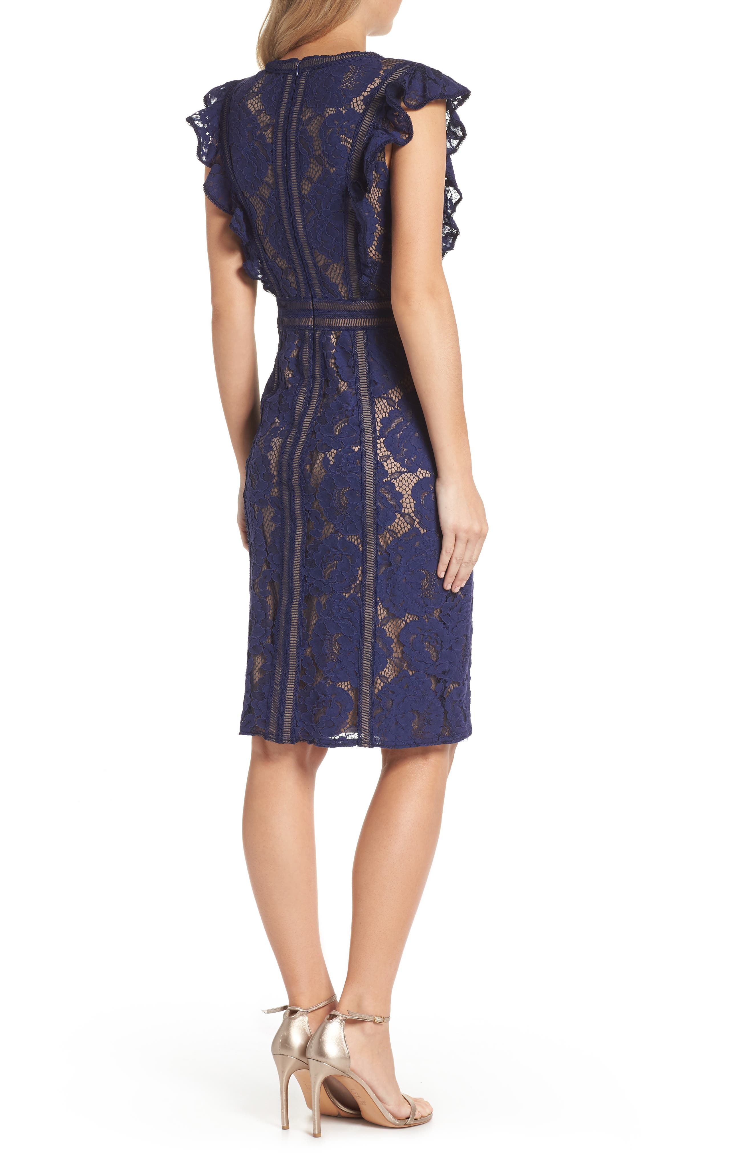 Lace Sheath Dress,                             Alternate thumbnail 2, color,                             434