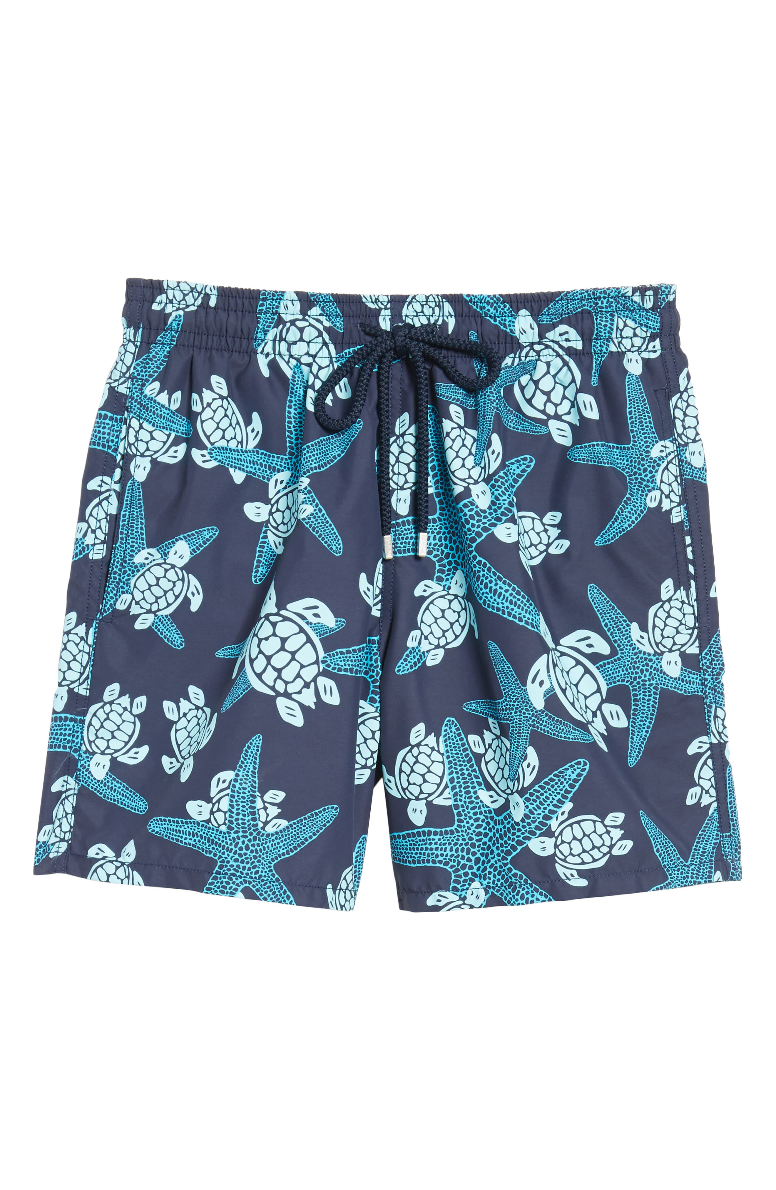 Starlette Turtle Print Swim Trunks,                             Alternate thumbnail 6, color,                             NAVY