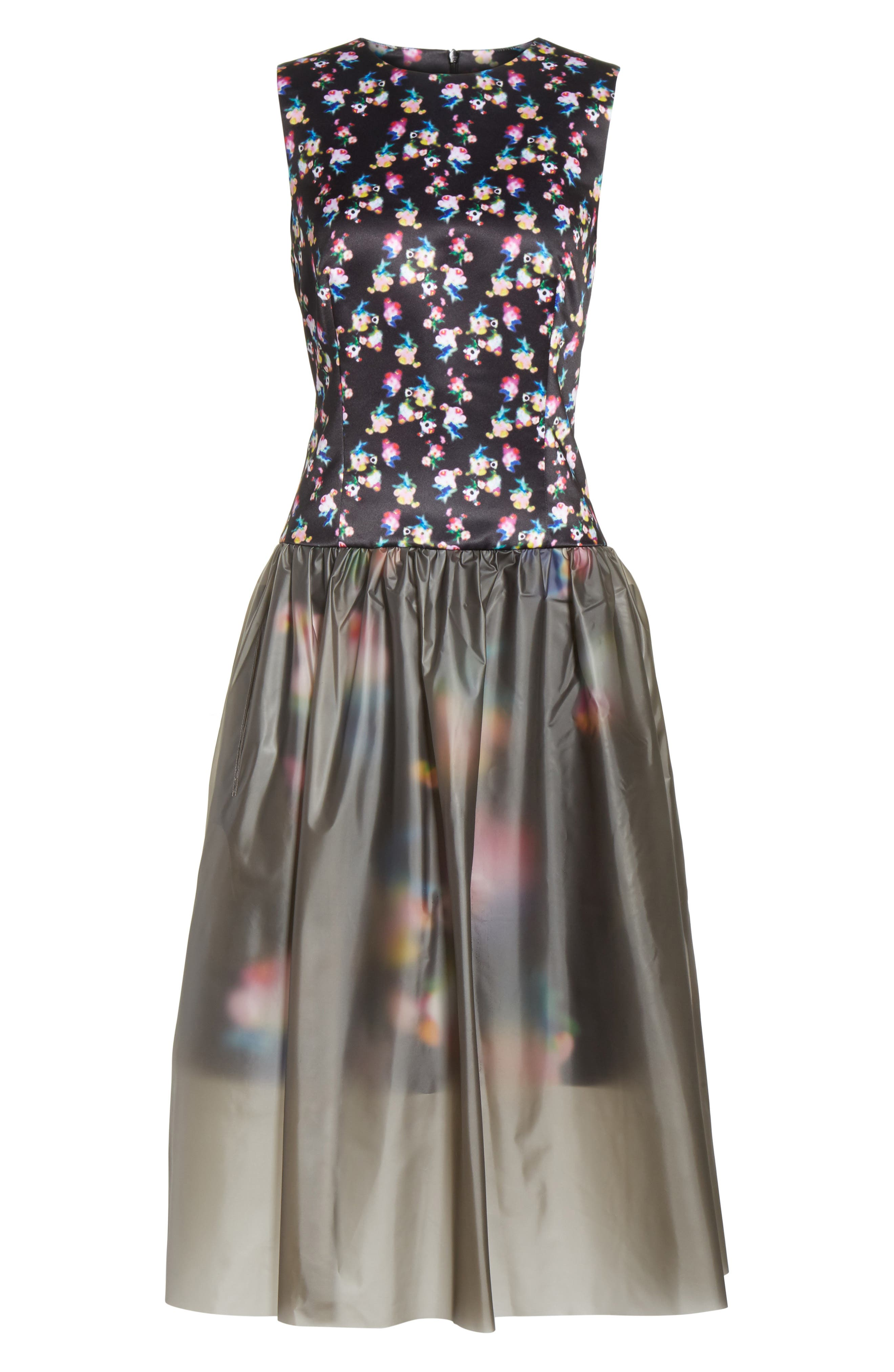 Floral Print Fit & Flare Dress with Vinyl Skirt,                             Alternate thumbnail 6, color,                             001