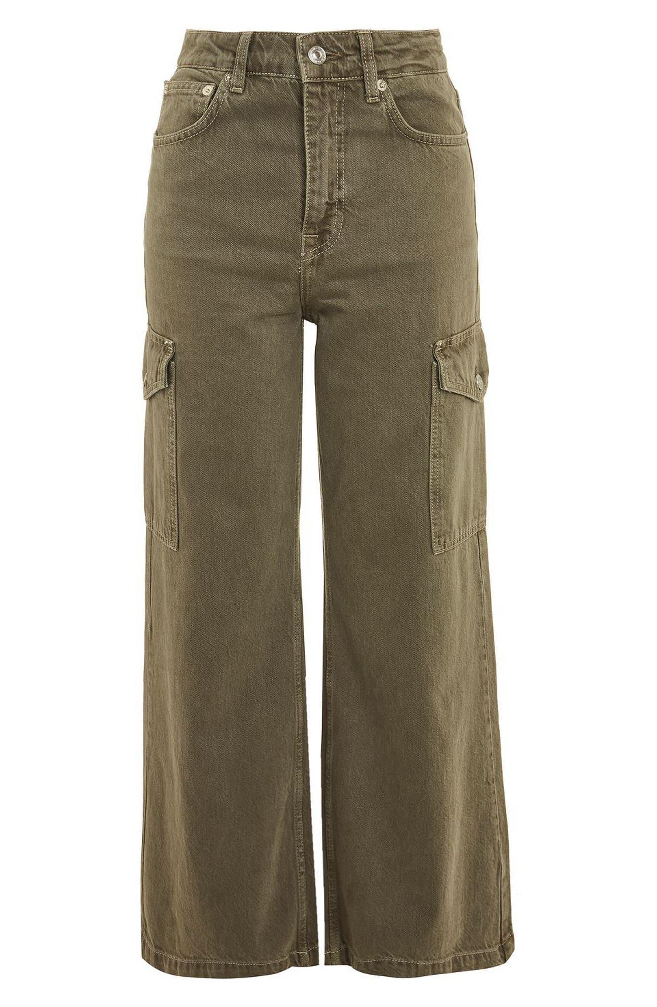 Wide Leg Crop Cargo Jeans,                             Alternate thumbnail 4, color,                             300