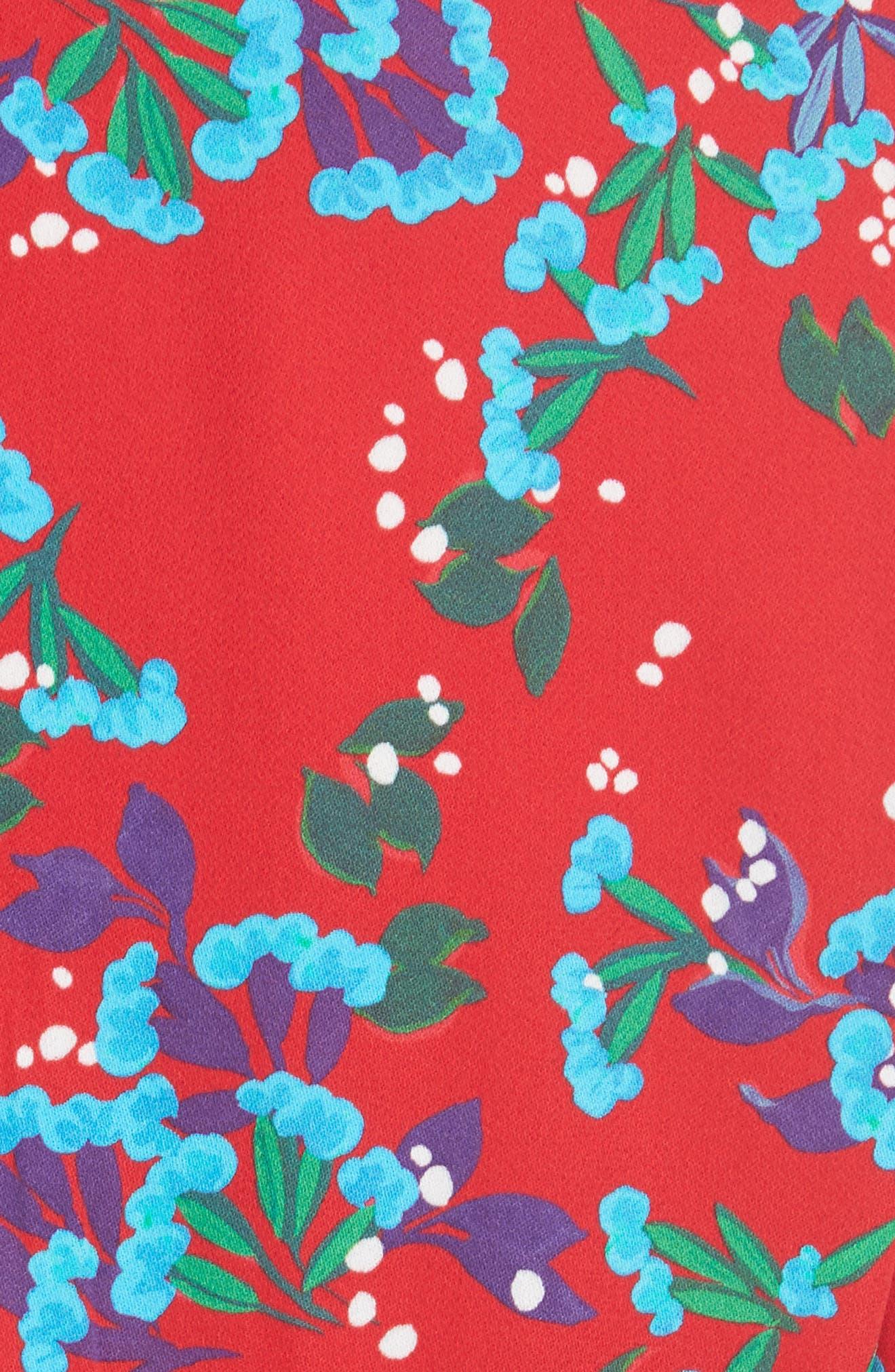 Eve Floral Print Dress,                             Alternate thumbnail 5, color,                             SCARLET SWEETPEAS