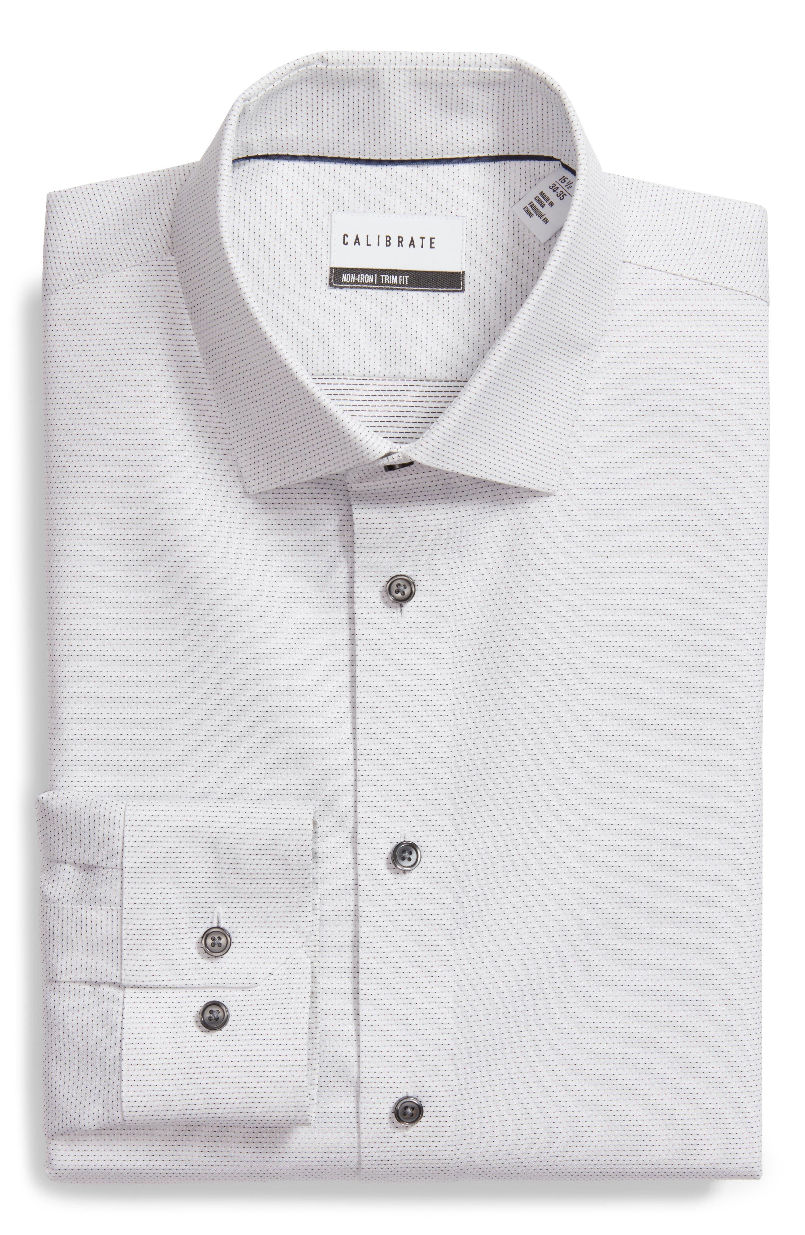 Trim Fit Dot Dress Shirt,                             Alternate thumbnail 5, color,                             100