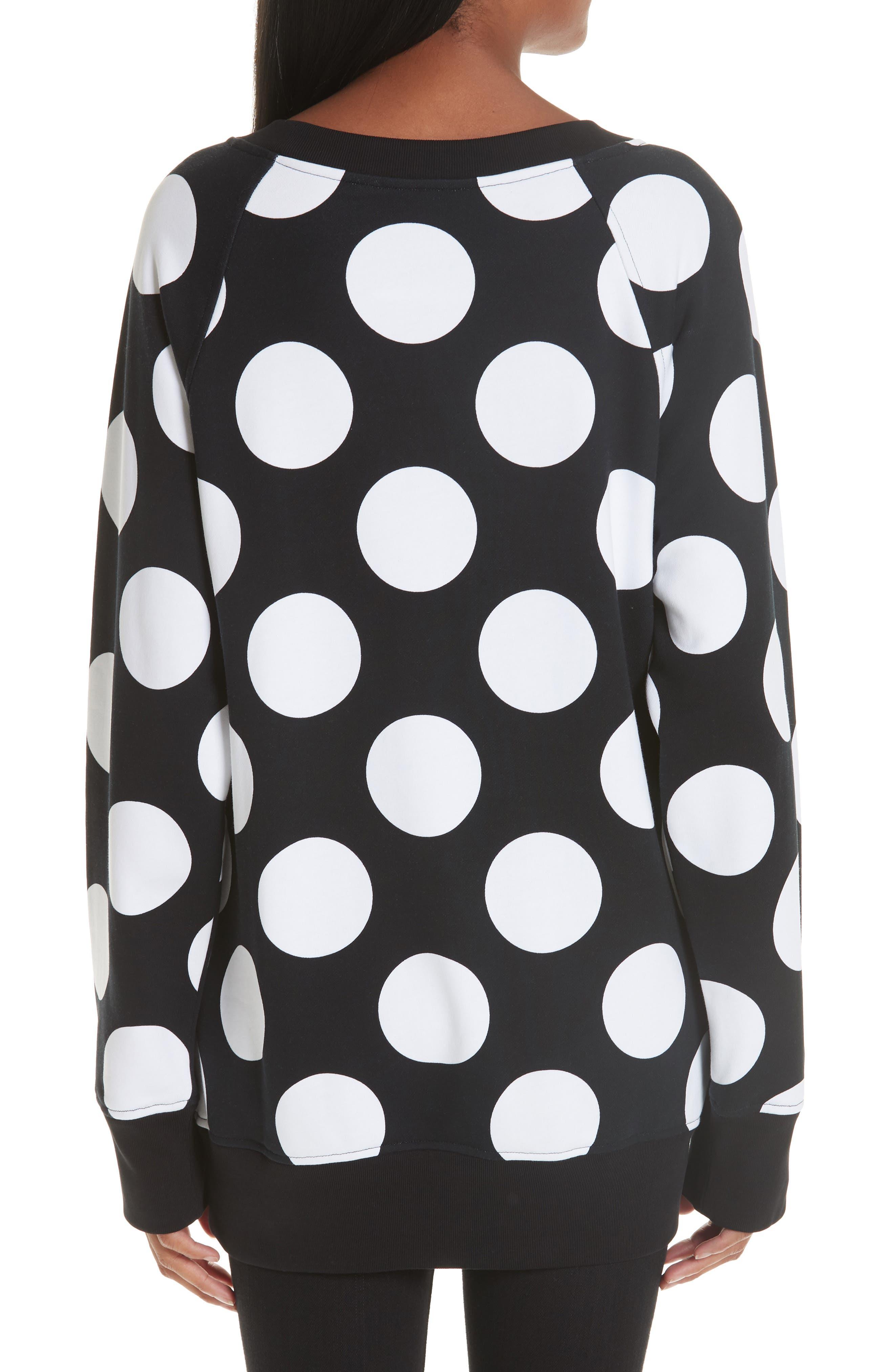Polka Dot Print Sweatshirt,                             Alternate thumbnail 2, color,                             BLACK/ WHITE
