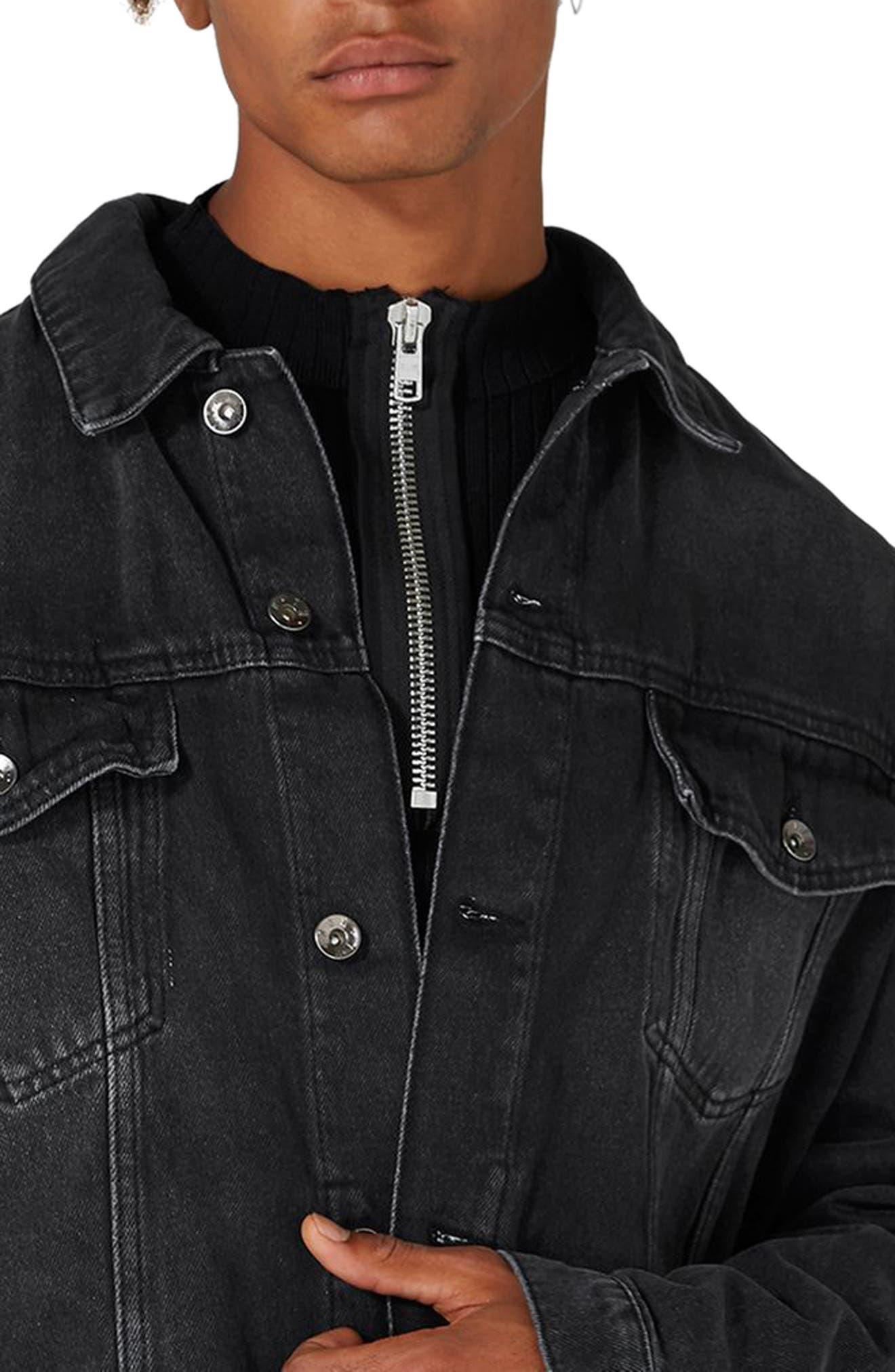 Oversize Black Denim Jacket,                             Alternate thumbnail 3, color,                             001
