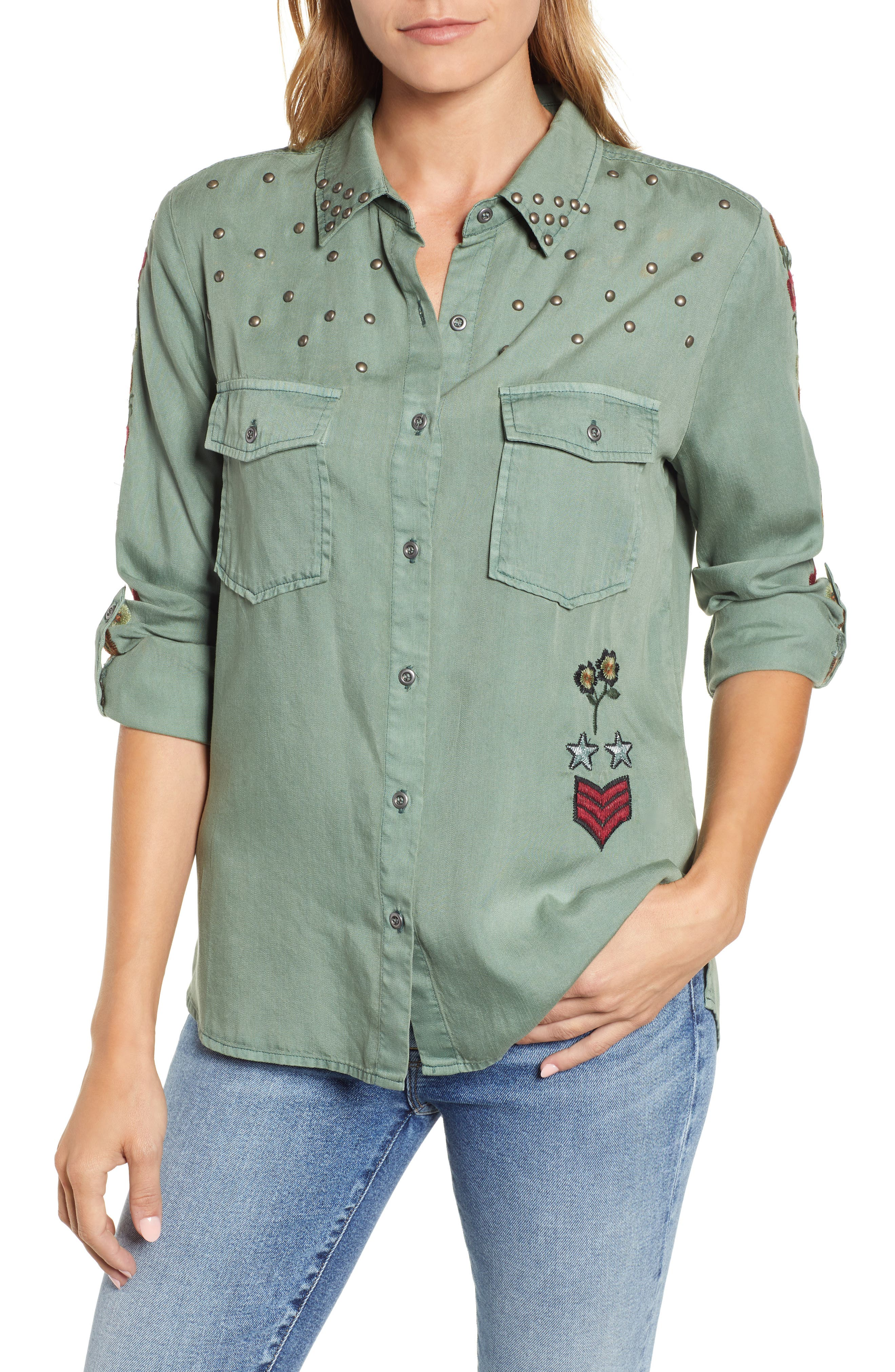 BILLY T Embroidered & Studded Military Shirt in Forest W/ Embroidery