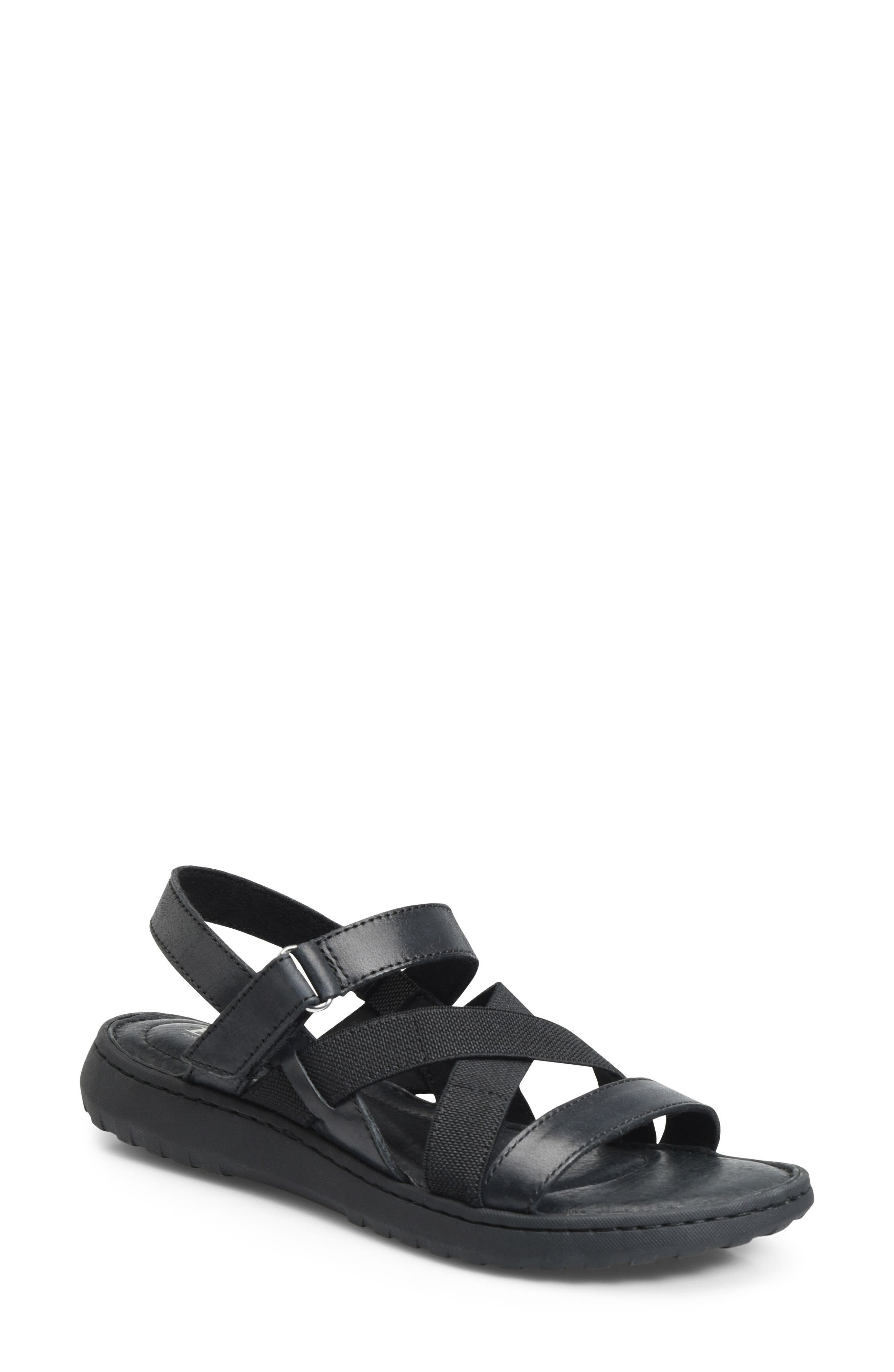 Manta Sandal,                         Main,                         color, BLACK LEATHER