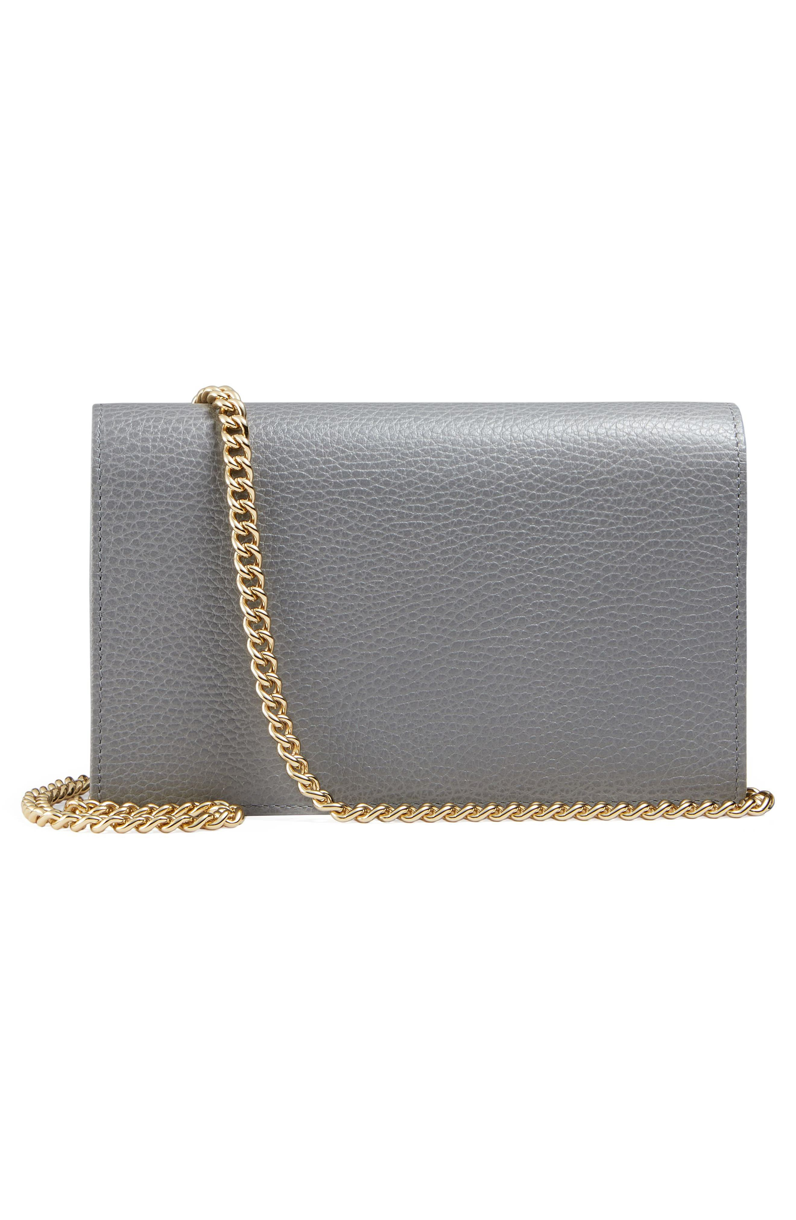 Petite Marmont Leather Wallet on a Chain,                             Alternate thumbnail 14, color,