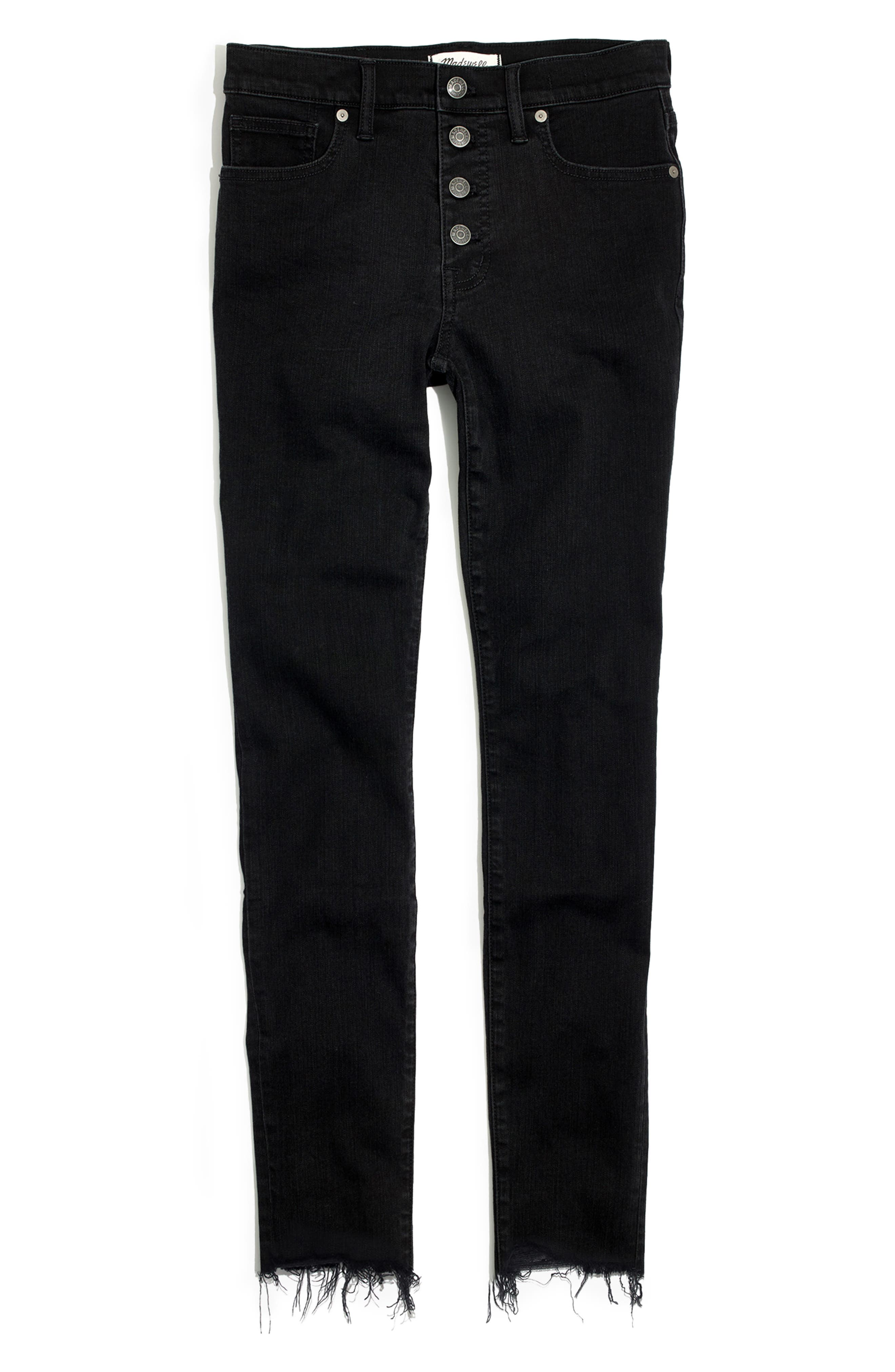 9-Inch Button High Waist Ankle Skinny Jeans,                             Alternate thumbnail 7, color,                             BERKELEY WASH