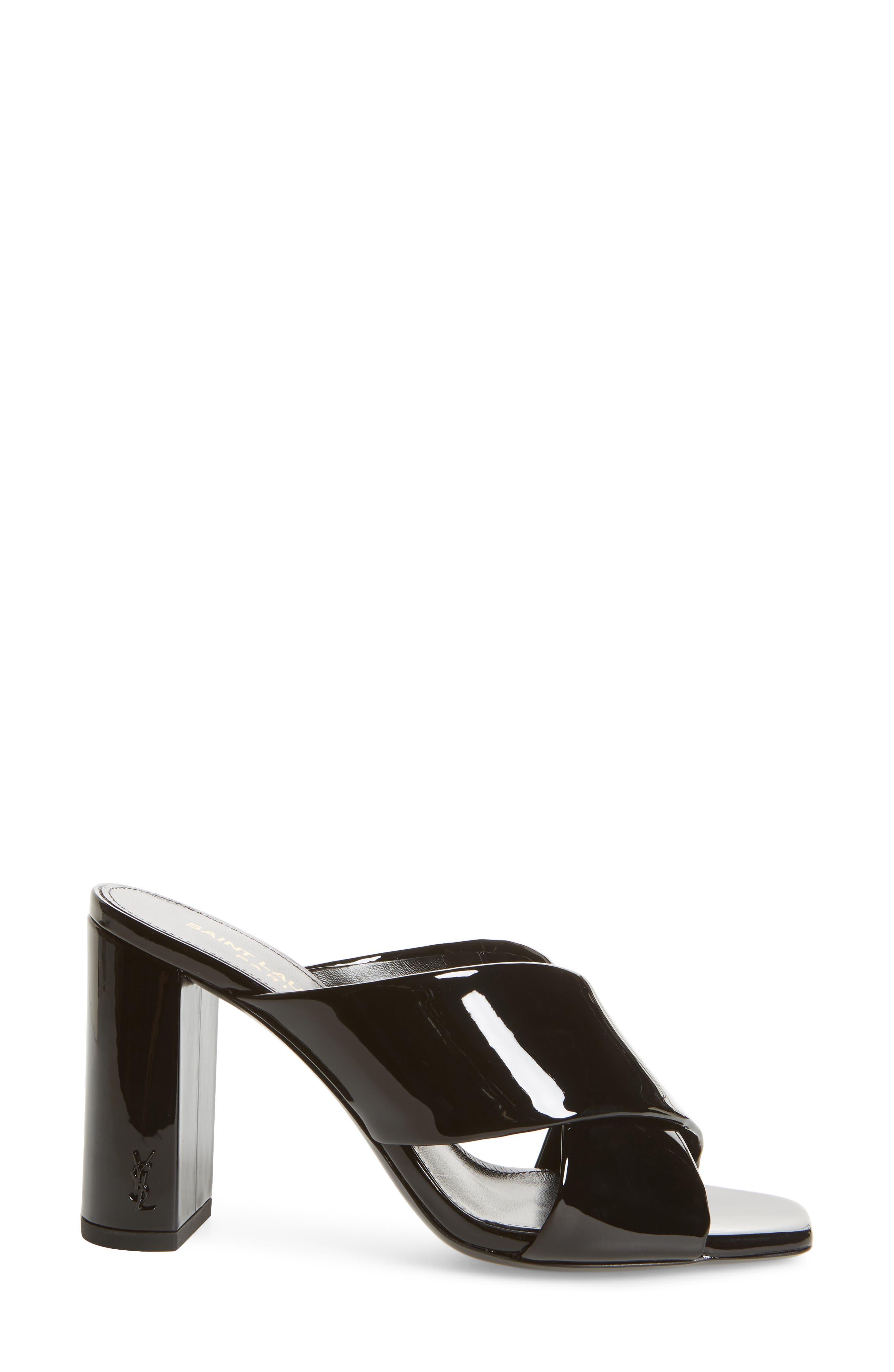 Loulou Slide Sandal,                             Alternate thumbnail 3, color,                             BLACK PATENT