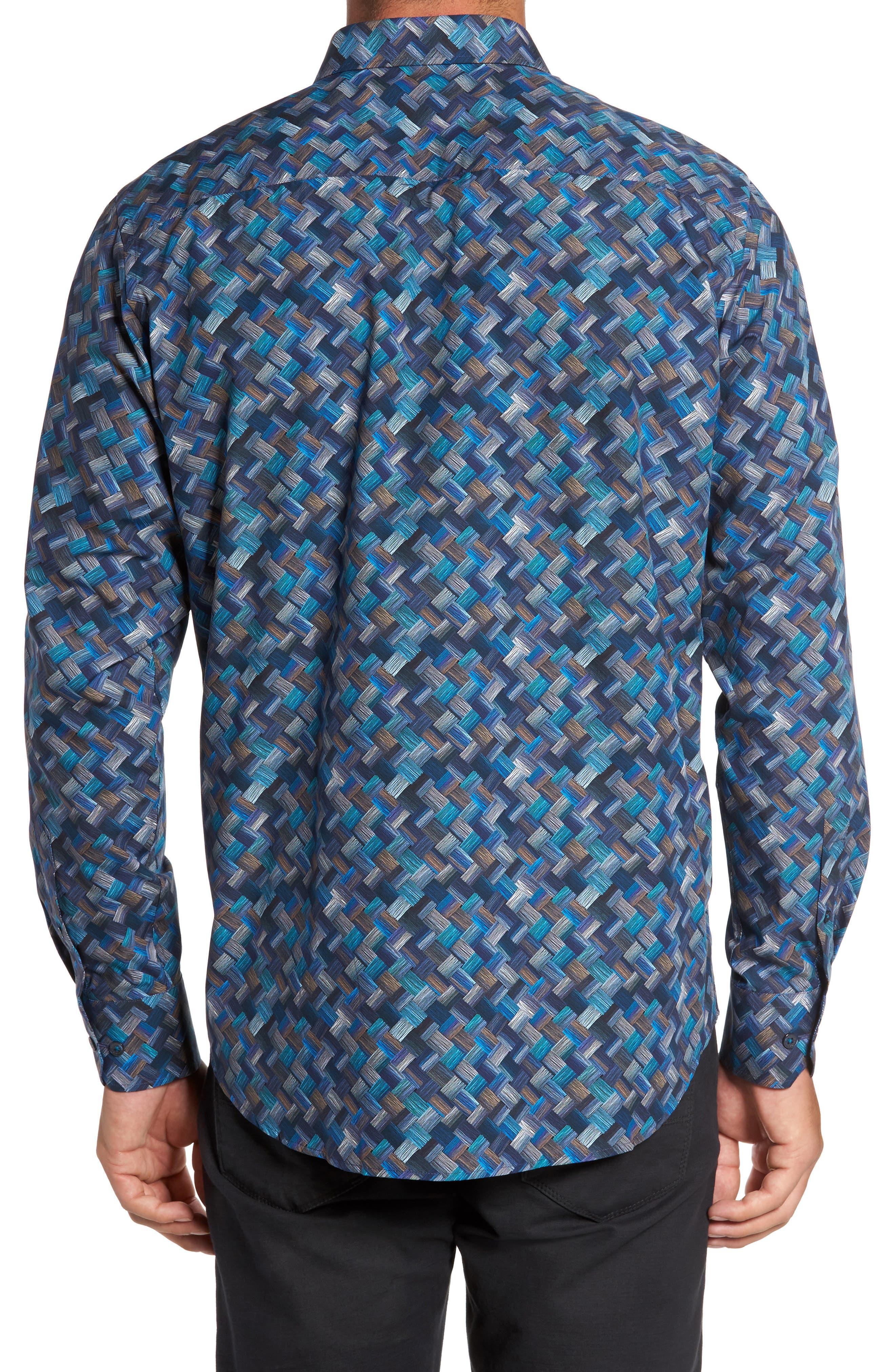Classic Fit Basket Weave Print Sport Shirt,                             Alternate thumbnail 2, color,                             411