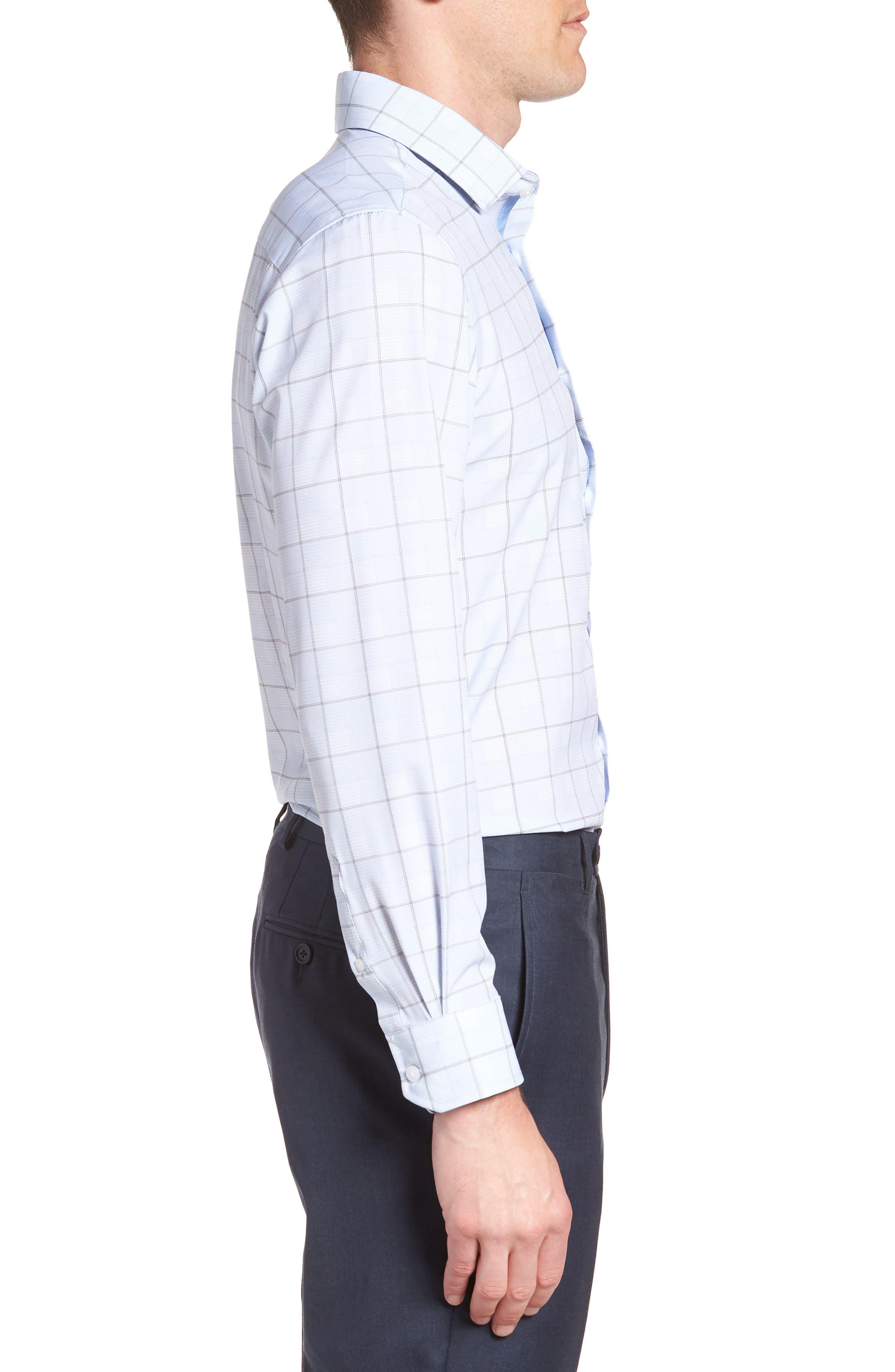 Trim Fit Plaid 4-Way Stretch Dress Shirt,                             Alternate thumbnail 4, color,                             BLUE