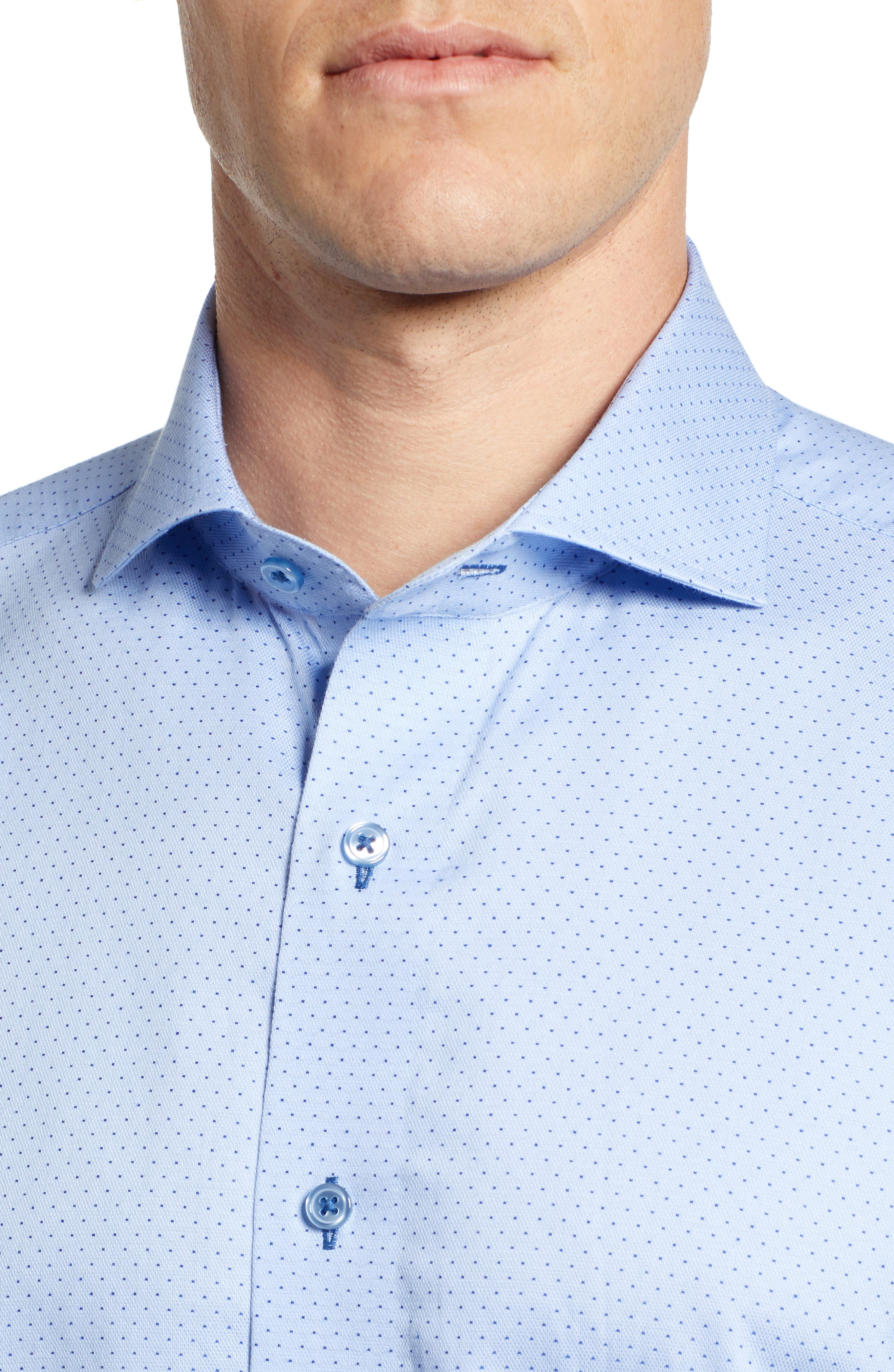 LORENZO UOMO,                             Trim Fit Dot Dress Shirt,                             Alternate thumbnail 2, color,                             LT BLUE
