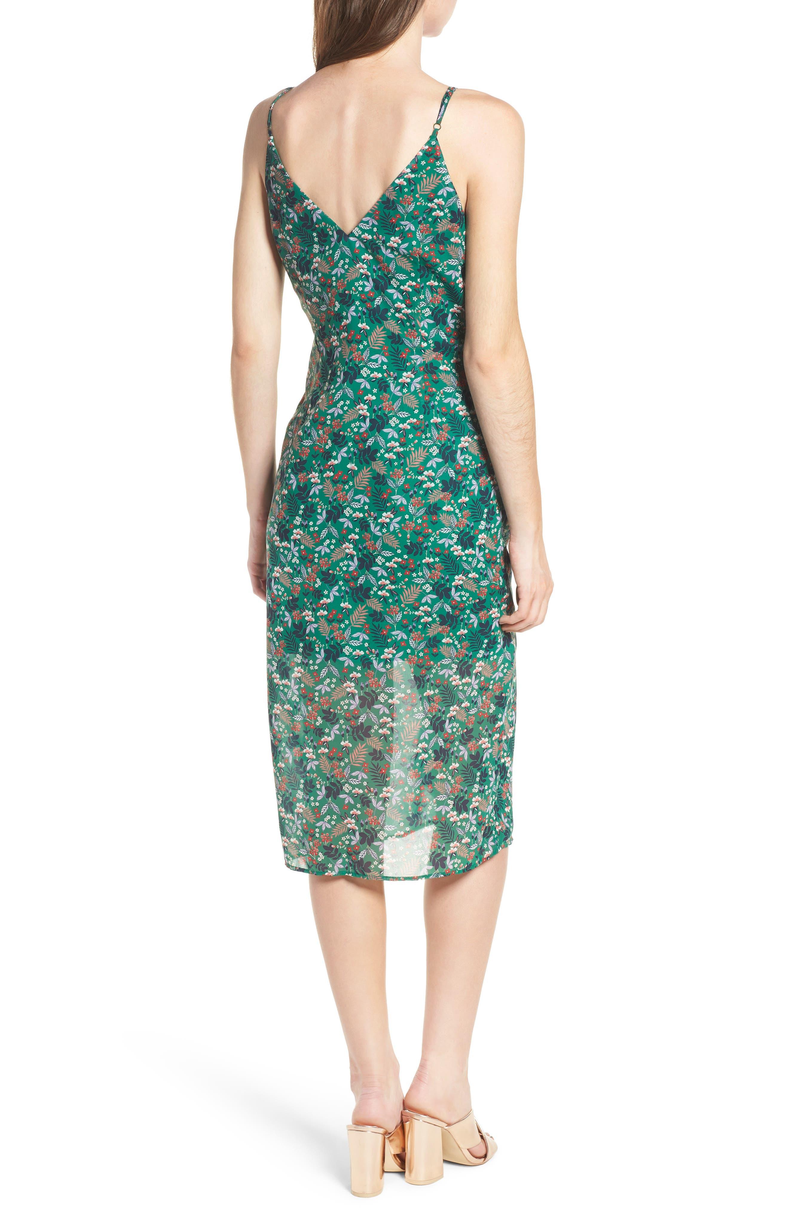 Viridian Ruffle Floral Print Dress,                             Alternate thumbnail 2, color,                             305