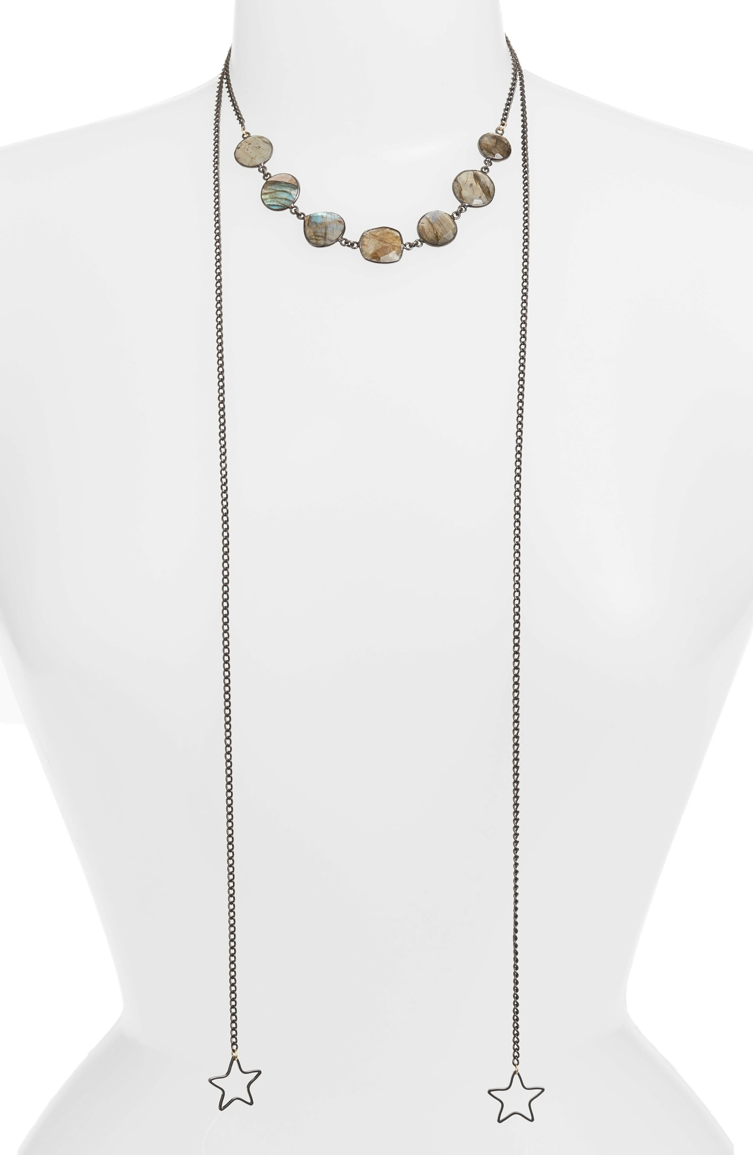 Stargirl Labradorite Lariat Necklace,                             Main thumbnail 1, color,                             GUNMETAL/ GREY
