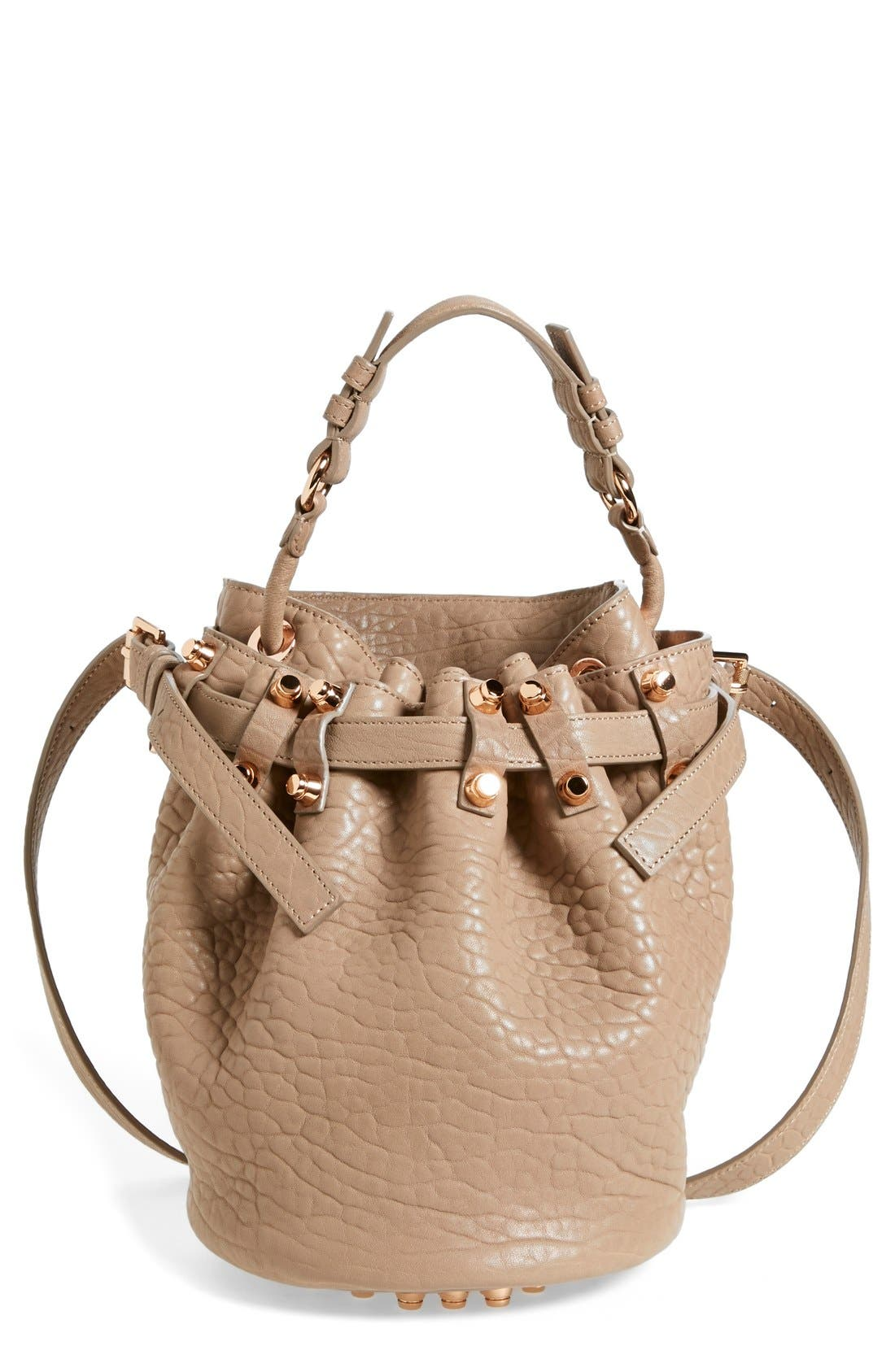 'Small Diego - Rose Gold' Leather Bucket Bag,                             Main thumbnail 1, color,                             250