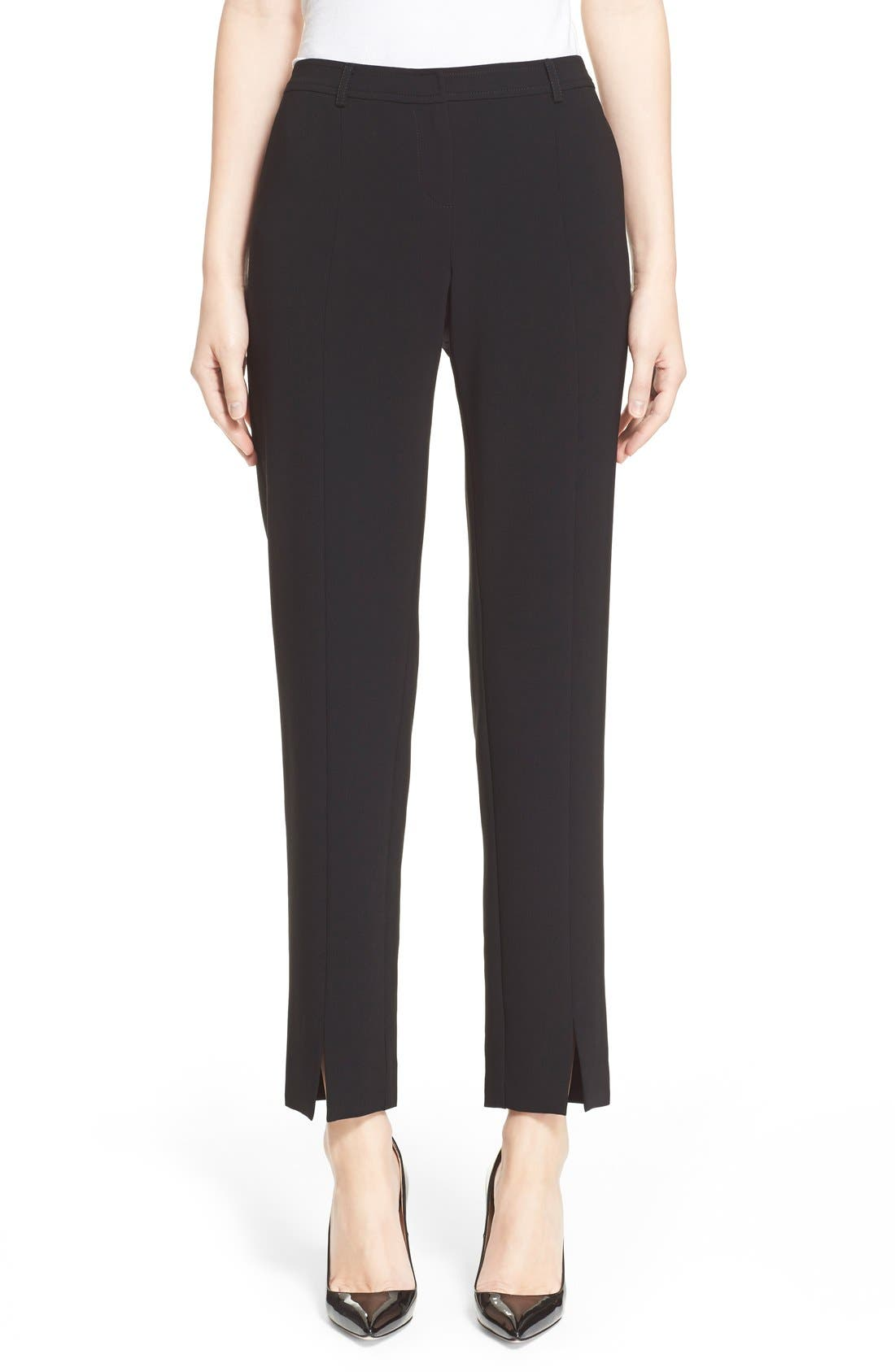 'Jennifer' Crepe Marocain Ankle Pants,                             Main thumbnail 1, color,                             CAVIAR