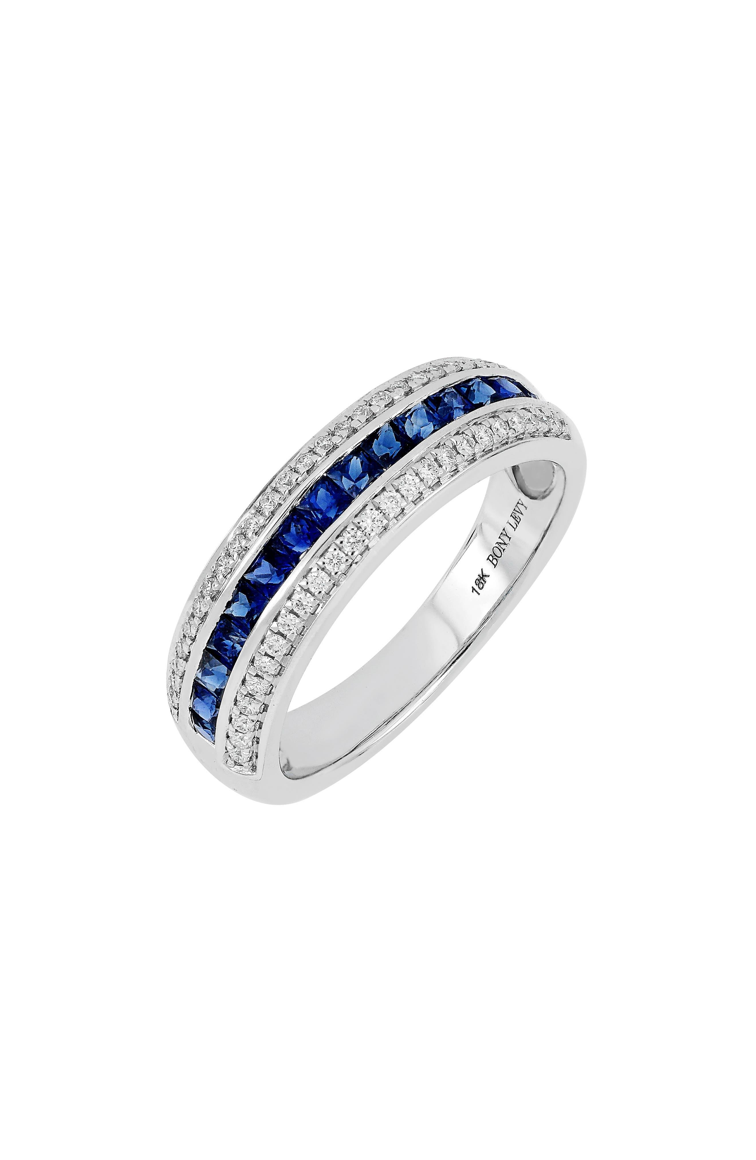 Diamond & Sapphire Band Ring,                             Main thumbnail 1, color,                             101