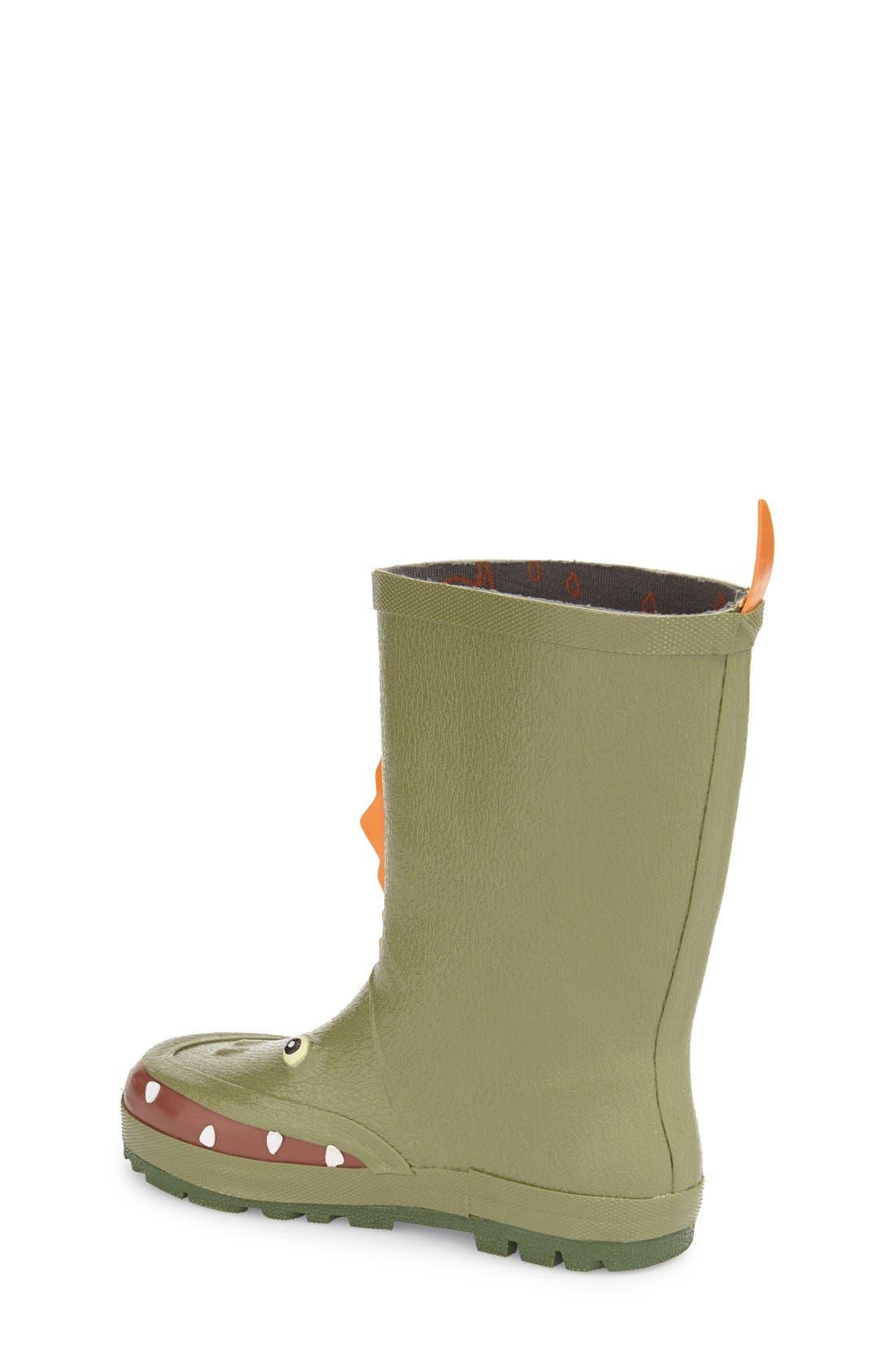 'Dinosaur' Waterproof Rain Boot,                             Alternate thumbnail 2, color,                             300