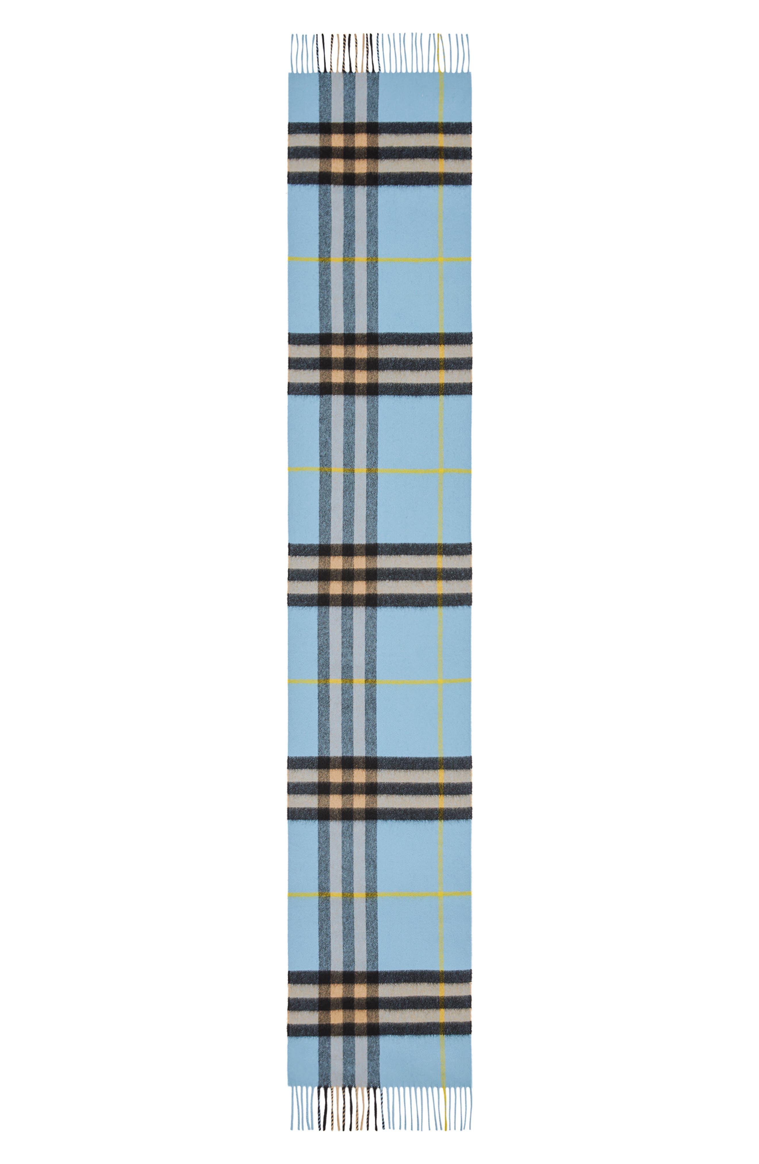 Giant Check Cashmere Scarf,                             Alternate thumbnail 3, color,                             BLUE CARBON