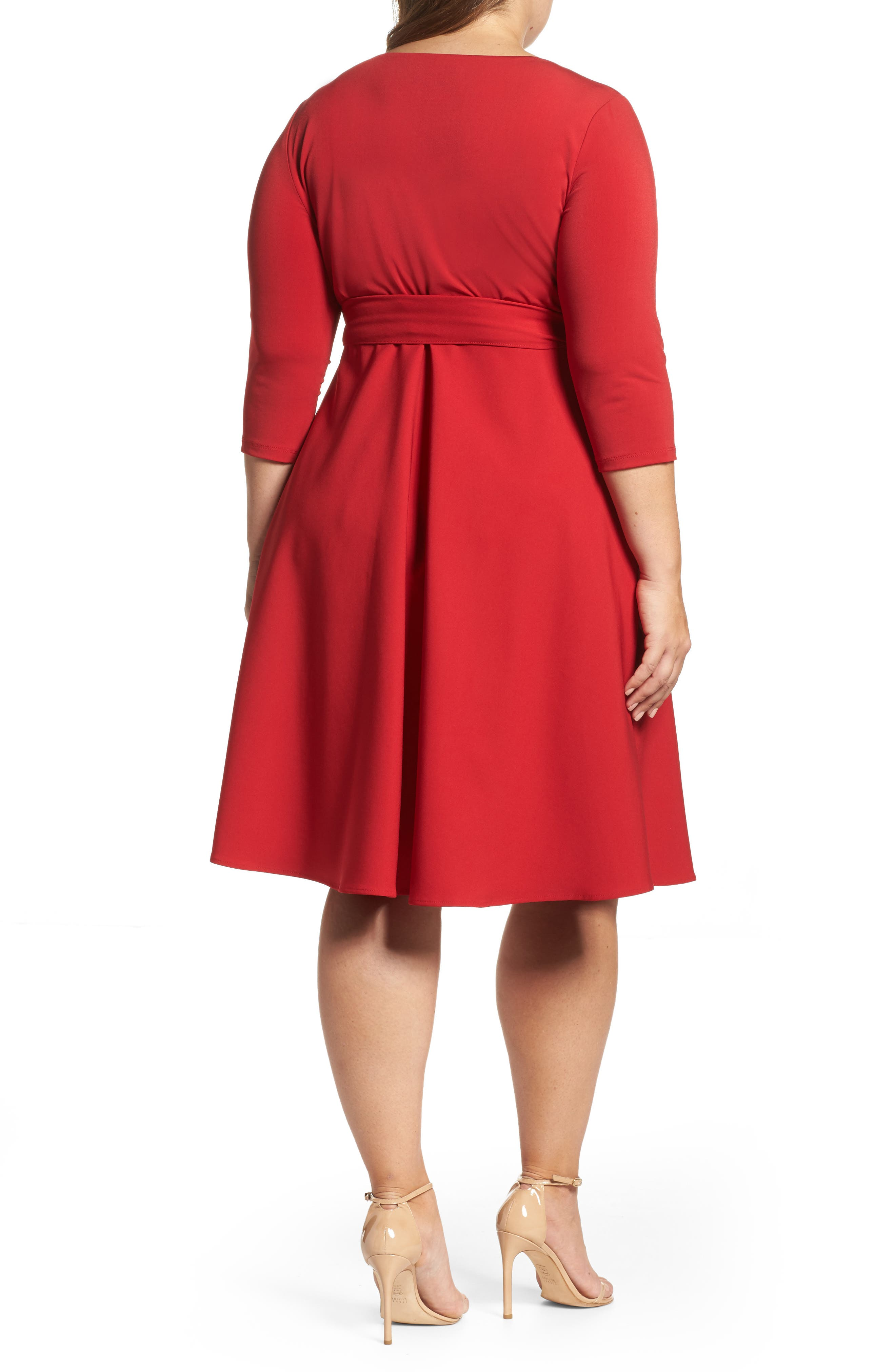 Fit & Flare Wrap Dress,                             Alternate thumbnail 2, color,                             623