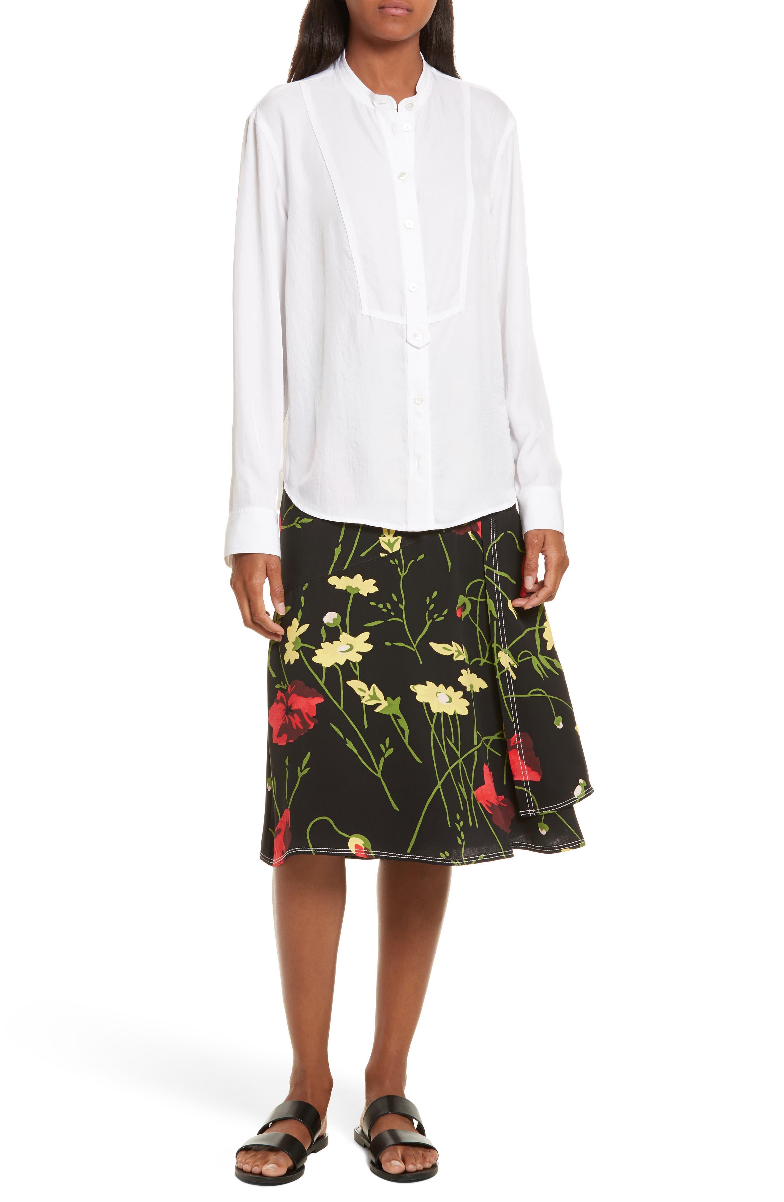 Floral Print Silk Skirt,                             Alternate thumbnail 7, color,                             001