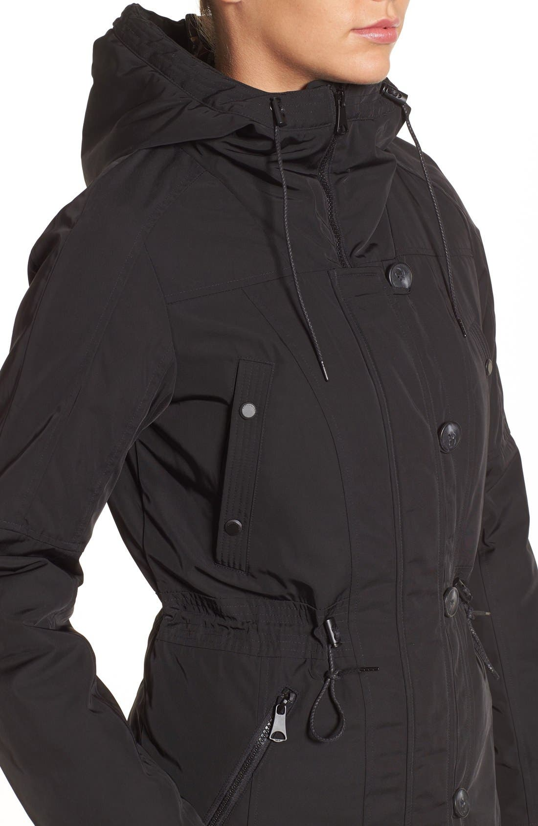 Marc New York by Andrew Marc 'Chrissy' Rain Coat with Removable Hood,                             Alternate thumbnail 4, color,                             001