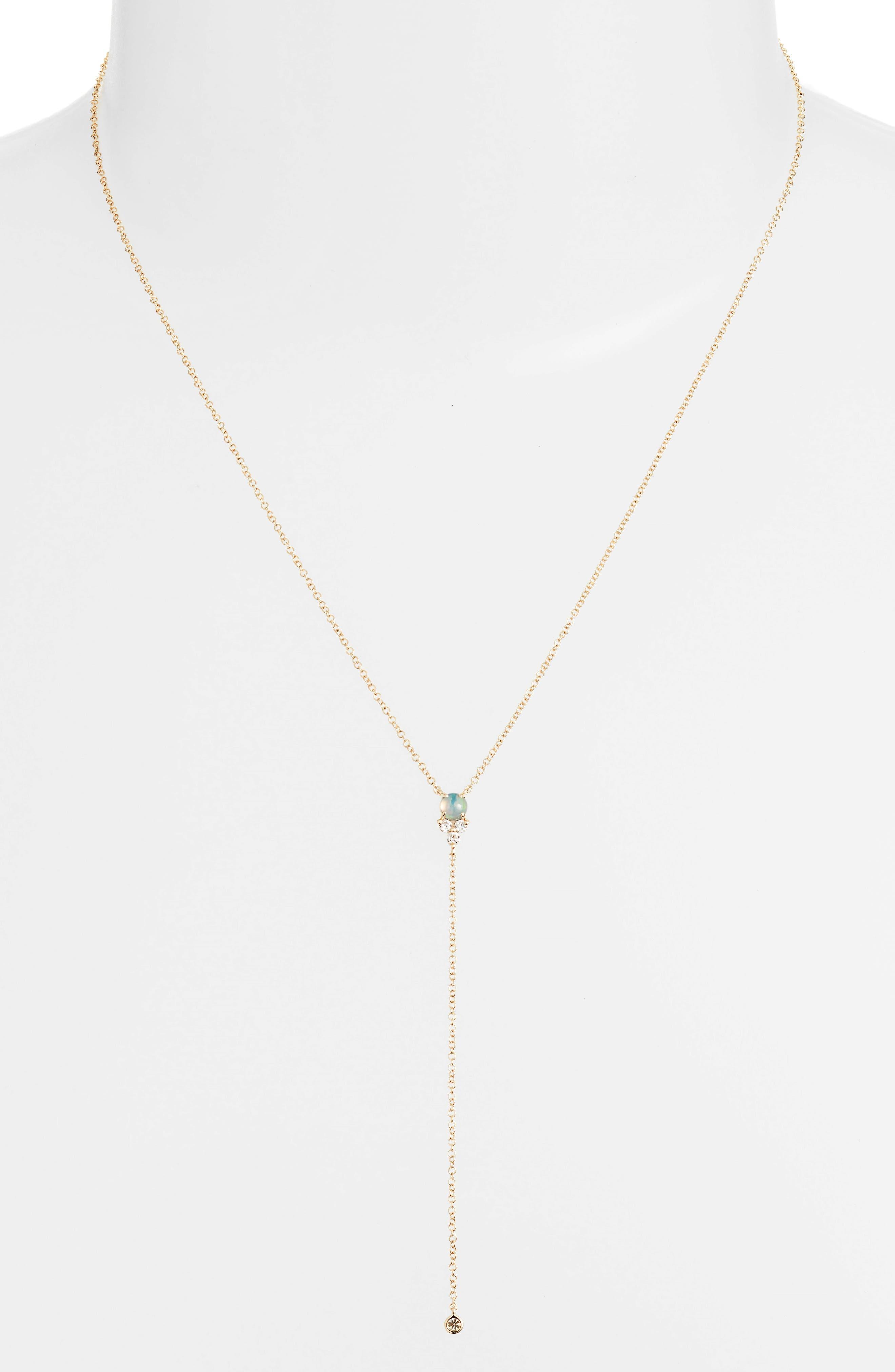 Diamond Trio Stone Lariat Necklace,                             Alternate thumbnail 2, color,                             YELLOW GOLD/ OPAL