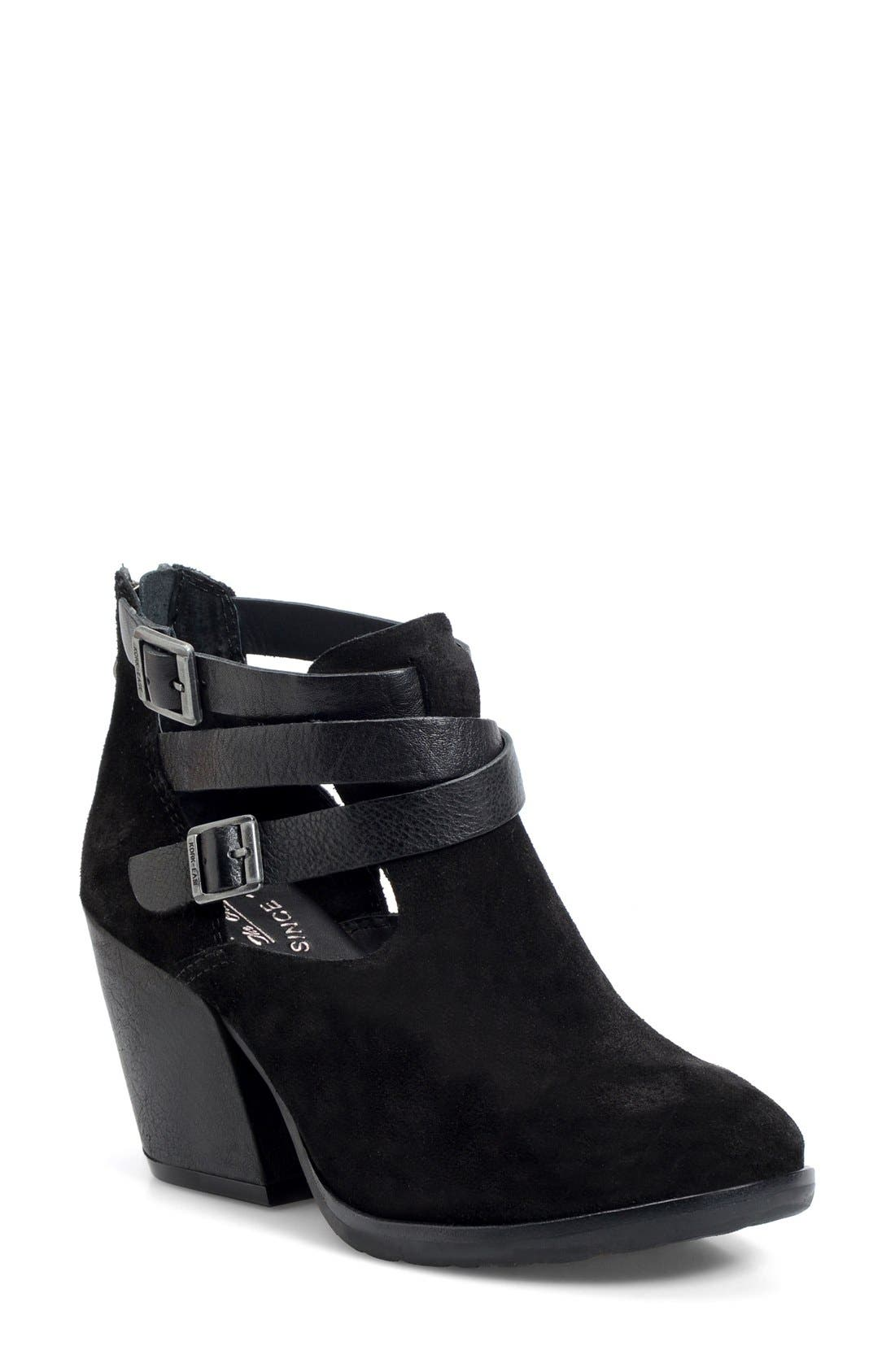 'Stina' Leather Bootie,                             Main thumbnail 1, color,                             001