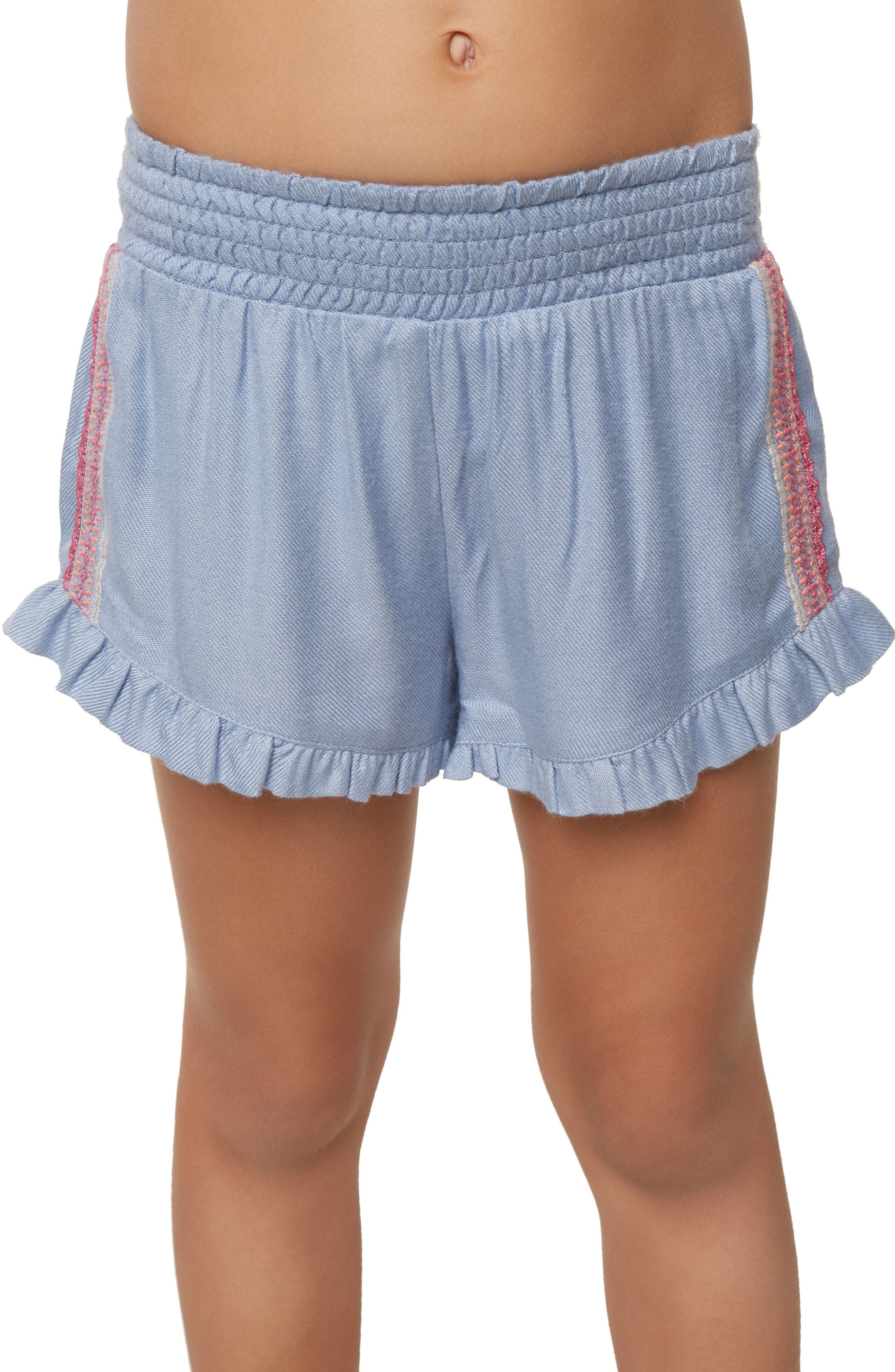 Bay Ruffle Shorts,                             Alternate thumbnail 3, color,                             BLEACHED PERIWINKLE