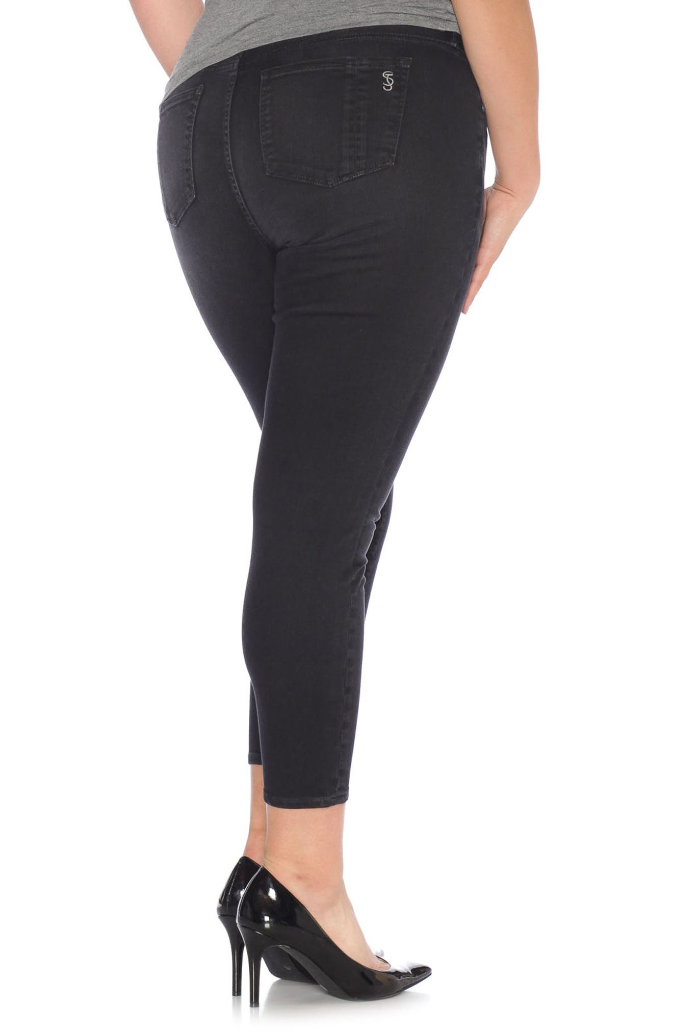 Stretch Ankle Skinny Jeans,                             Alternate thumbnail 2, color,                             001