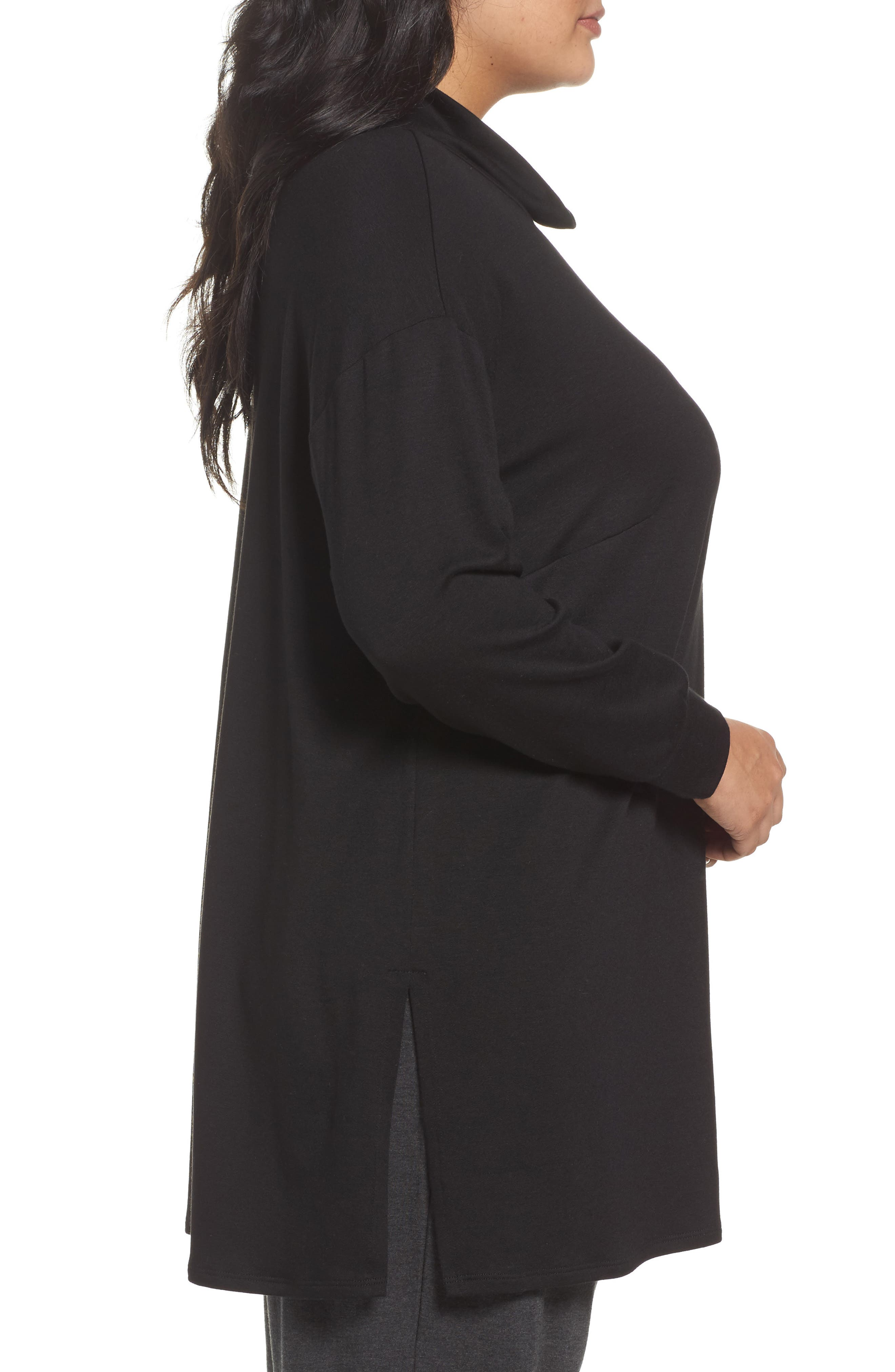 Funnel Neck Jersey Tunic,                             Alternate thumbnail 3, color,                             001