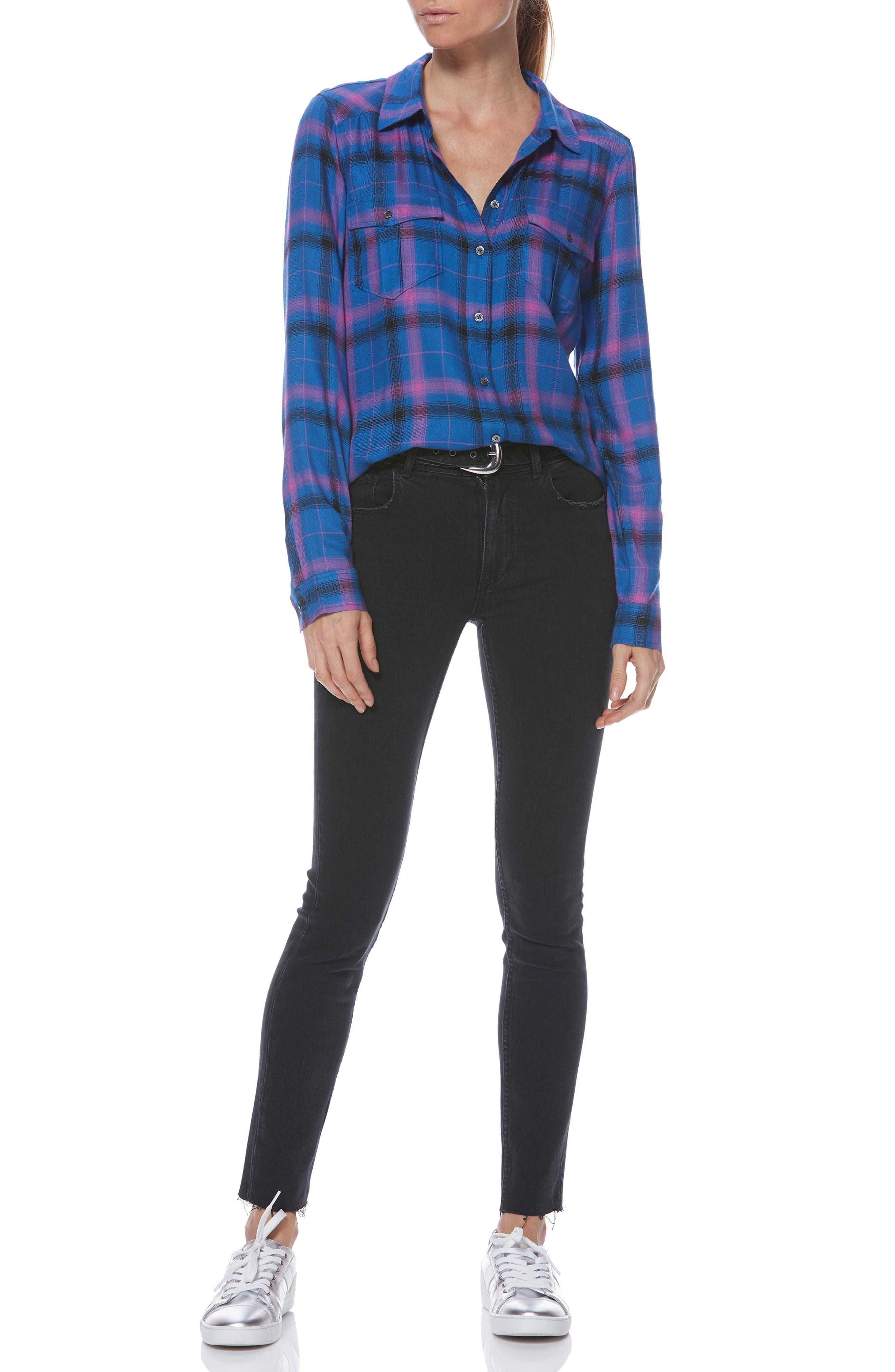 Mya Plaid Shirt,                             Alternate thumbnail 4, color,                             BRIGHT CROWN BLUE MULTI