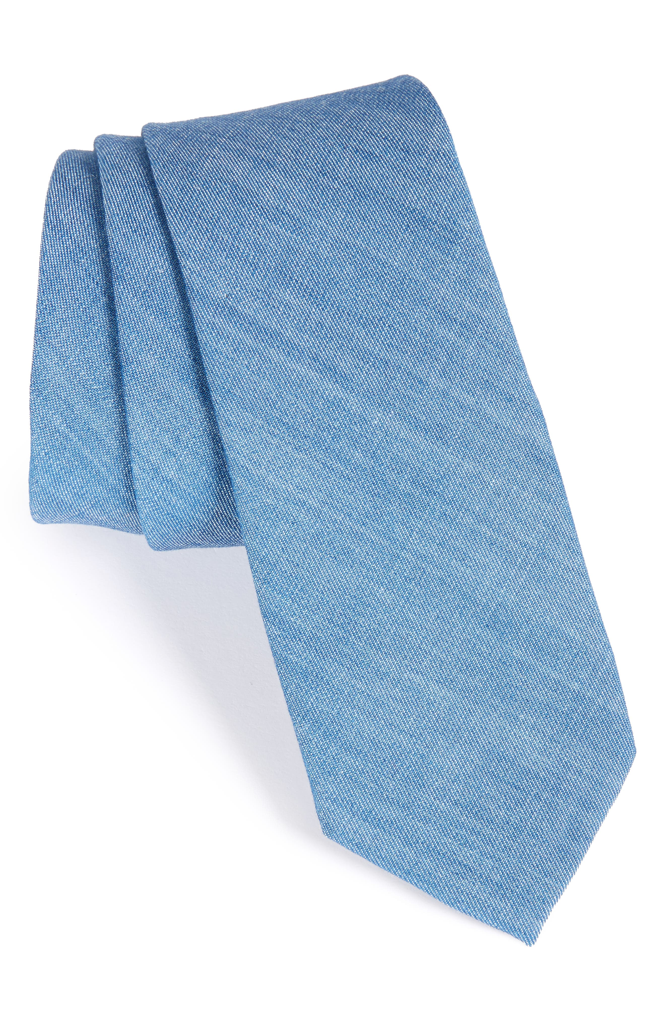 Solid Cotton Blend Skinny Tie,                             Main thumbnail 1, color,                             400
