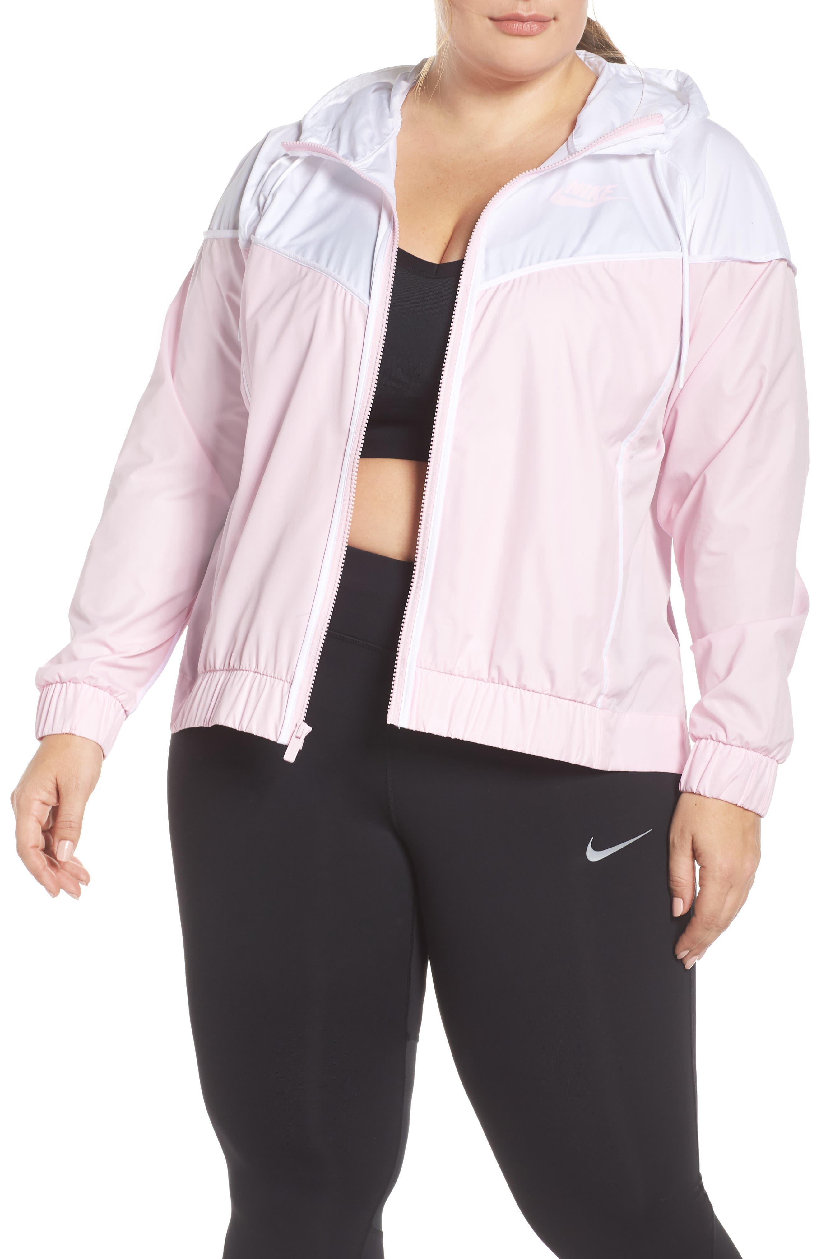 NIKE,                             Sportswear Windrunner Jacket,                             Main thumbnail 1, color,                             PINK FOAM/ WHITE/ PINK FOAM