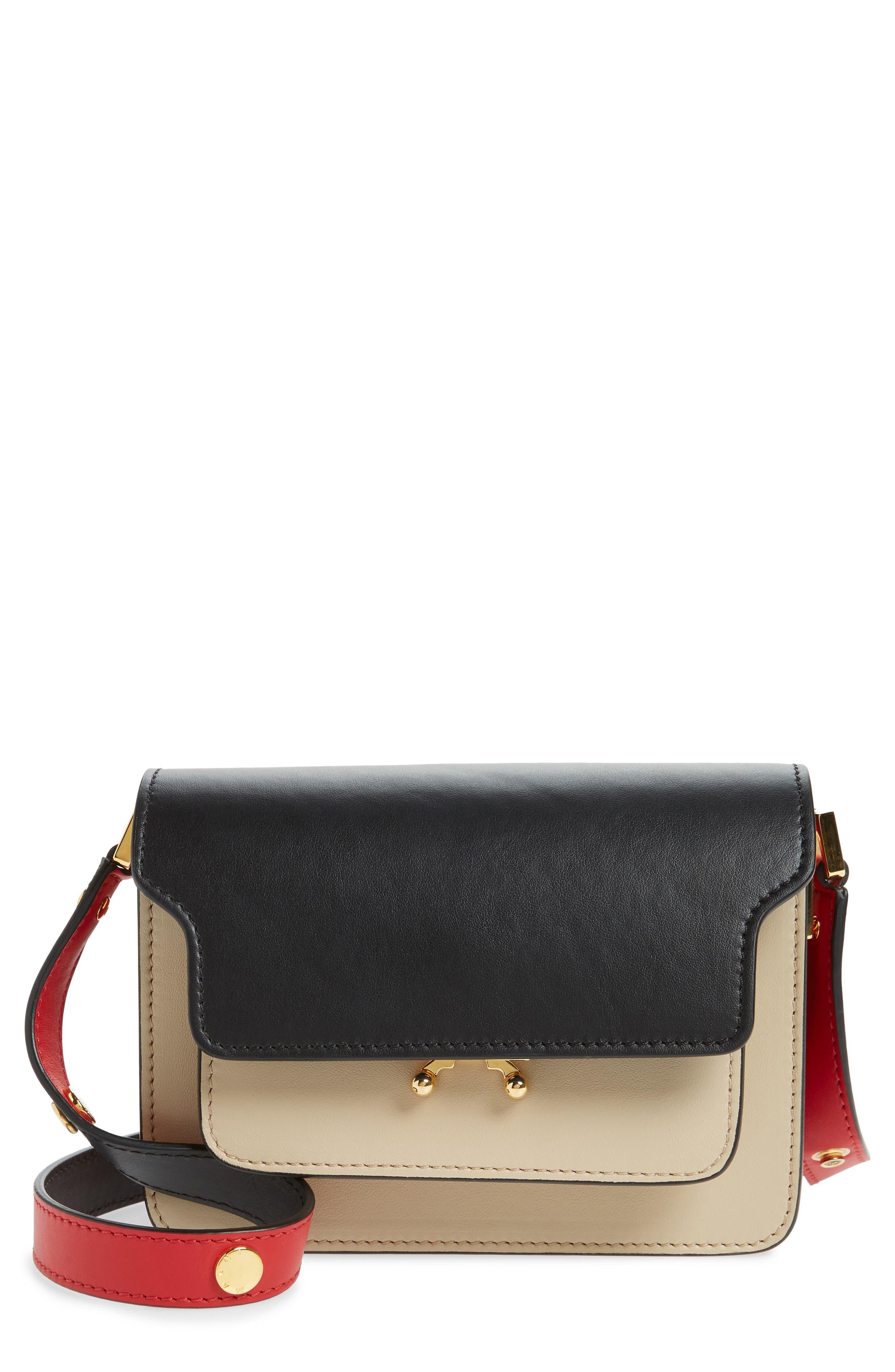 Small Trunk Colorblock Leather Shoulder Bag,                             Main thumbnail 1, color,                             LIGHT CAMEL/ BLACK/ RED