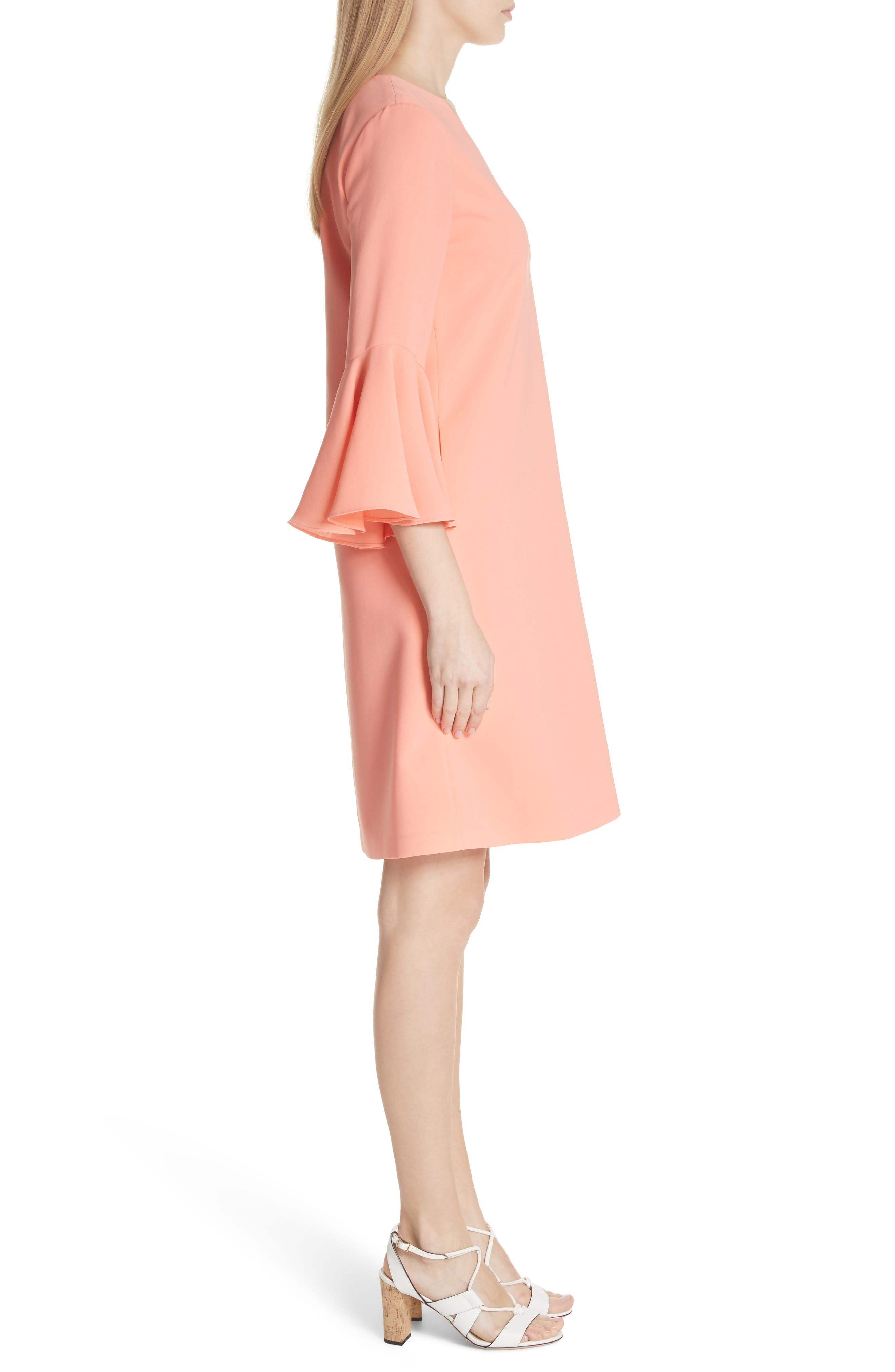 Holly Bell Sleeve Dress,                             Alternate thumbnail 3, color,                             CORAL REEF