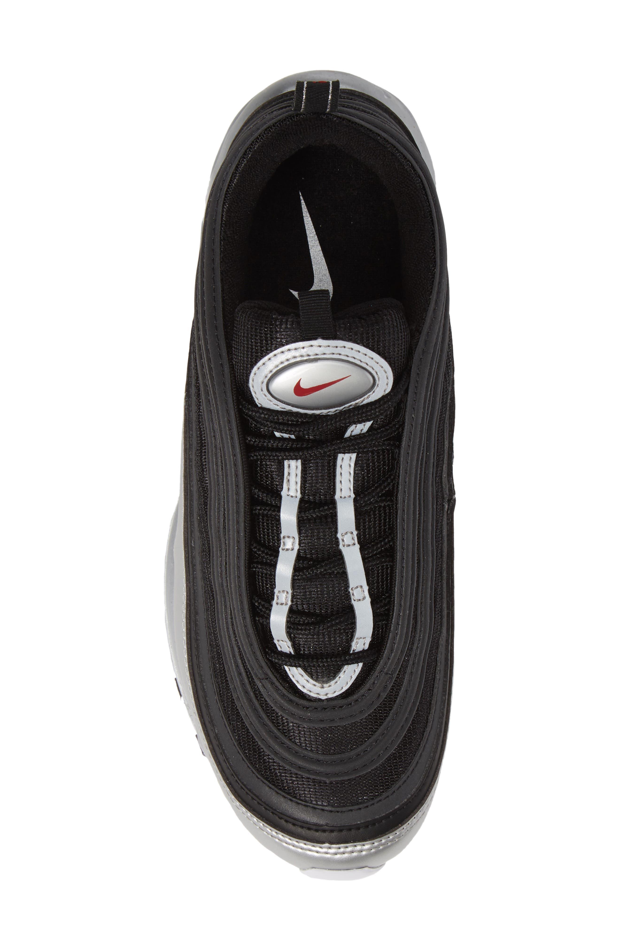 Air Max 97 QS Sneaker,                             Alternate thumbnail 5, color,                             BLACK/ VARSITY RED/ SILVER